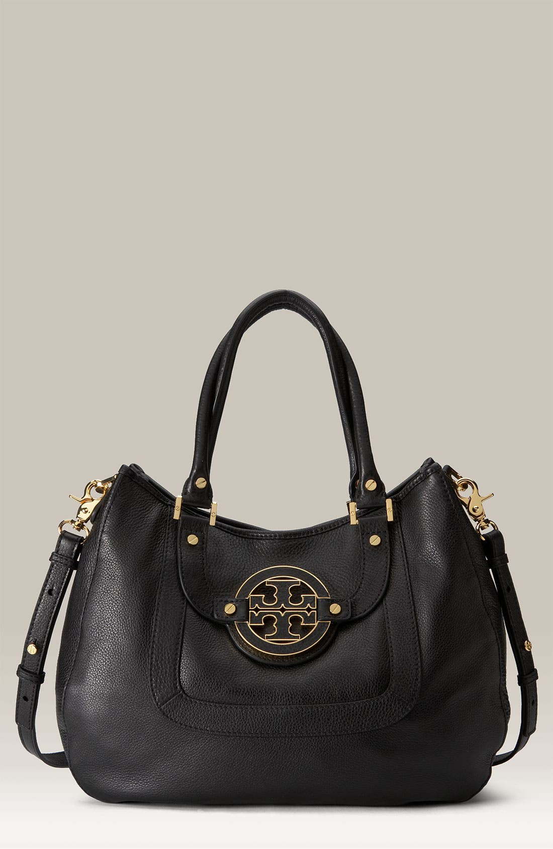 TORY BURCH, 'Amanda' Leather Hobo, Main thumbnail 1, color, 001