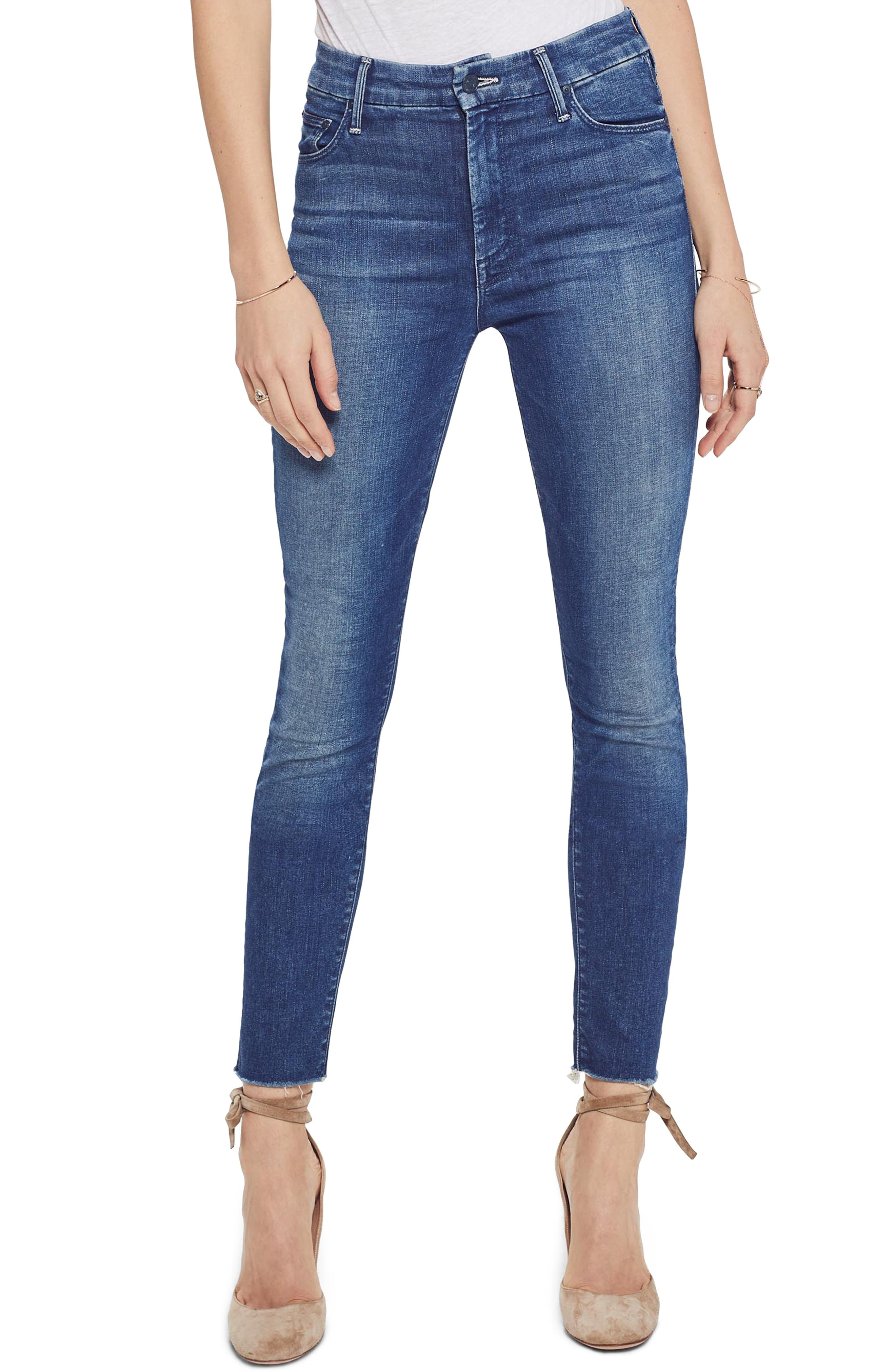 MOTHER, The Looker High Waist Frayed Ankle Skinny Jeans, Main thumbnail 1, color, LURE ME IN