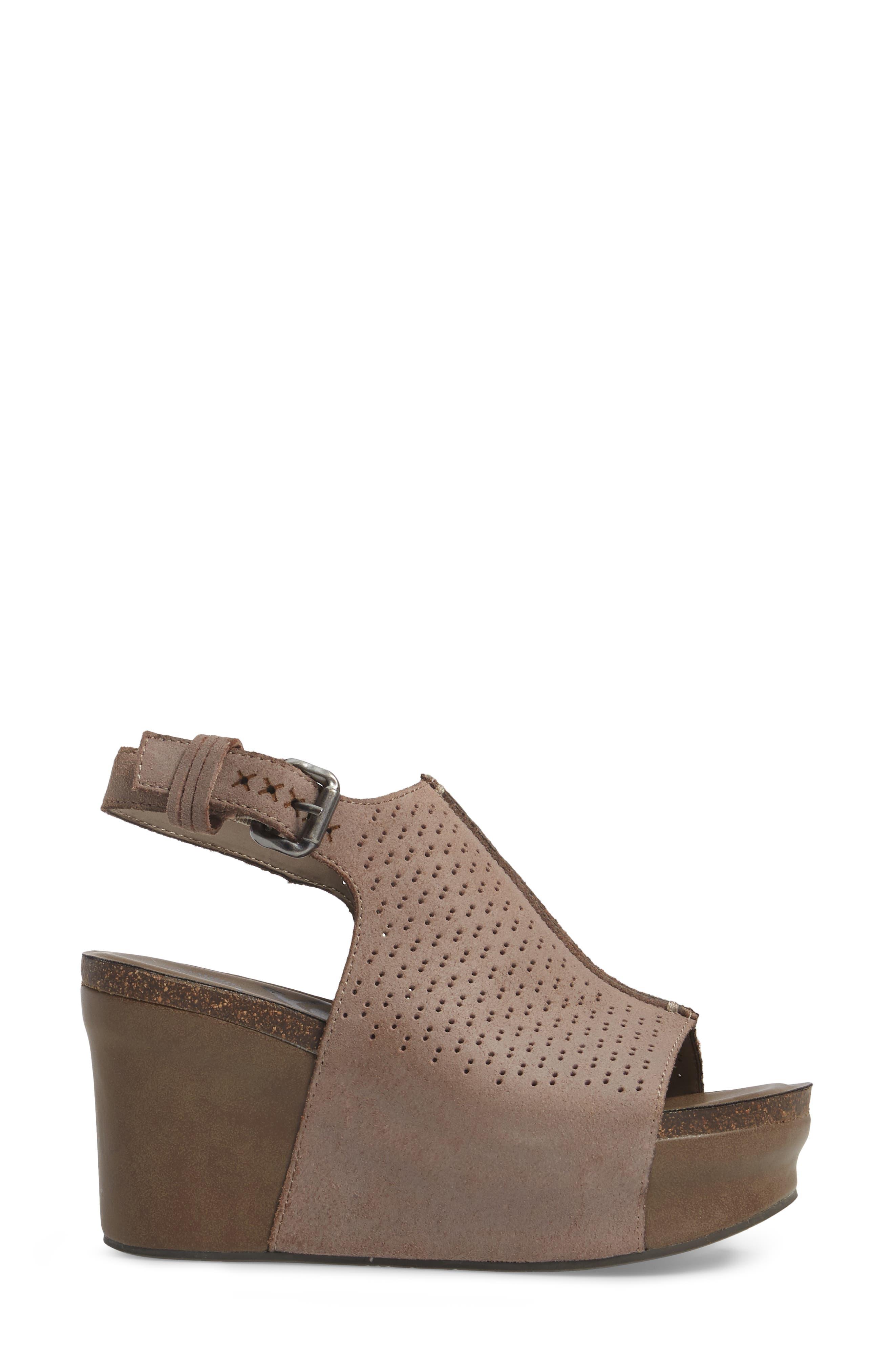 OTBT, Jaunt Platform Wedge Sandal, Alternate thumbnail 3, color, GREY POWDER SUEDE