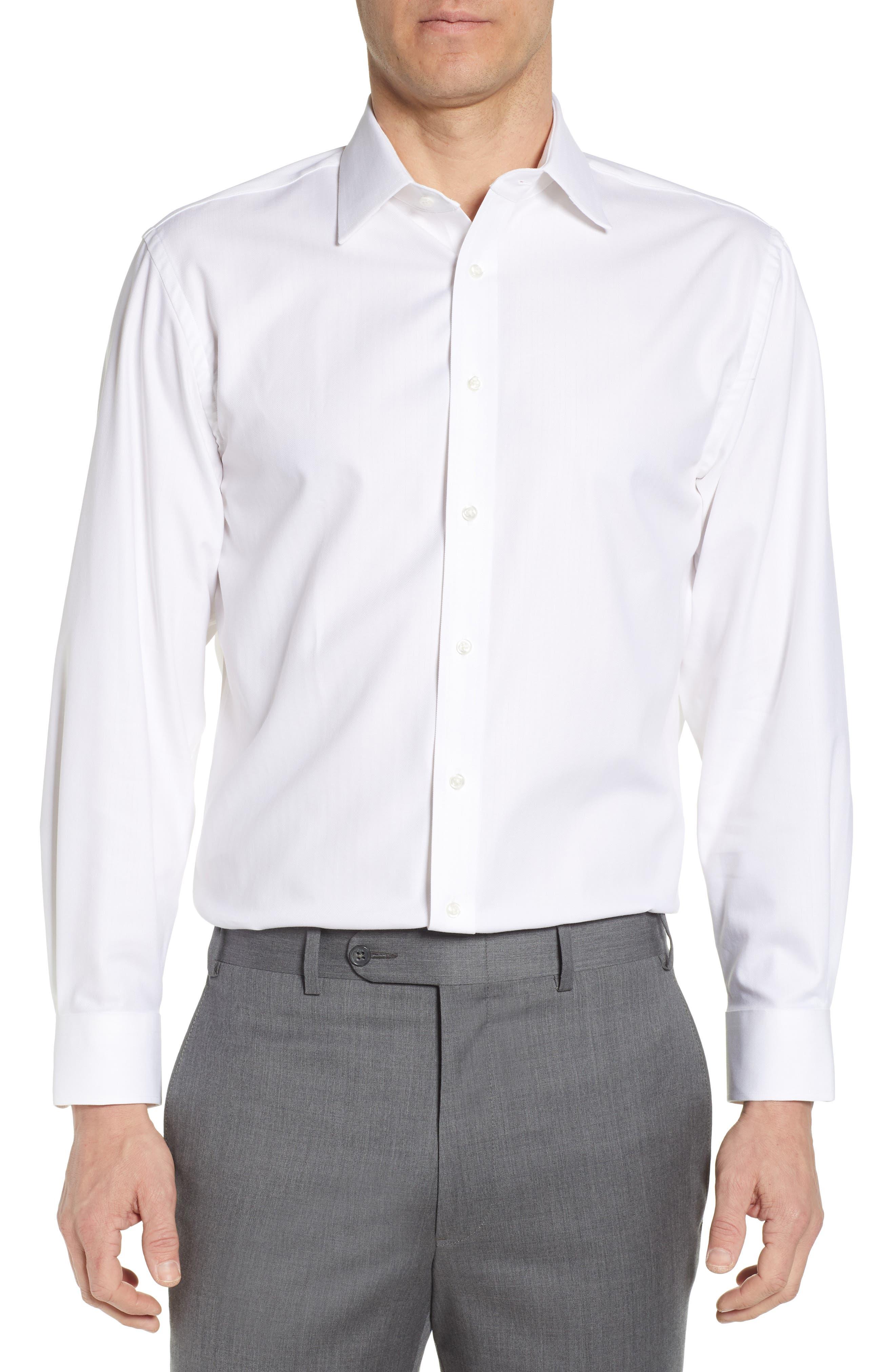 NORDSTROM MEN'S SHOP, Tech-Smart Traditional Fit Stretch Herringbone Dress Shirt, Main thumbnail 1, color, WHITE