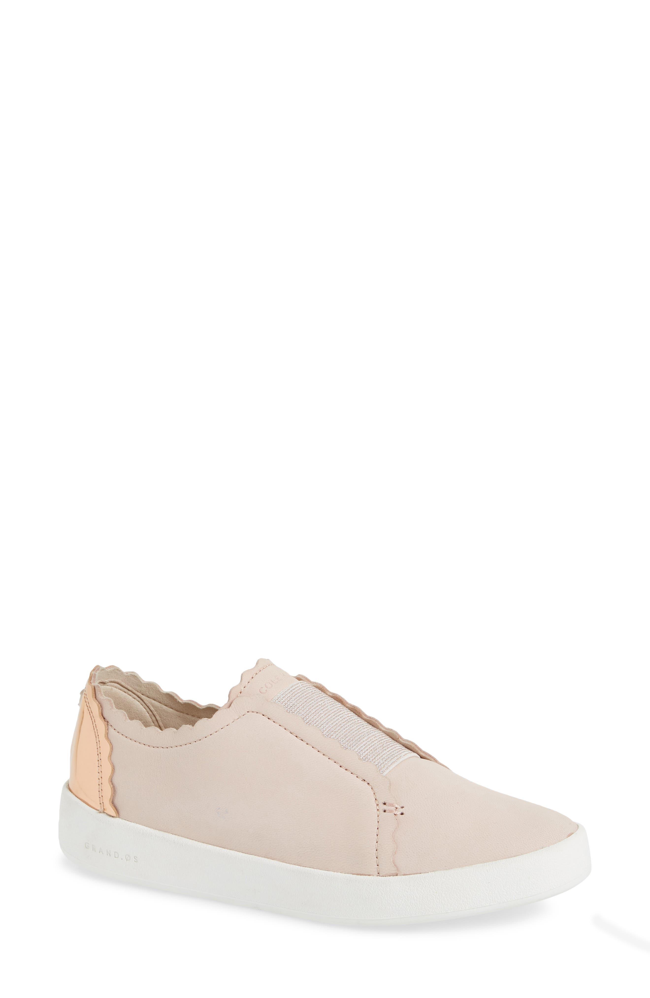 COLE HAAN, GrandPro Spectator Scalloped Slip-On Sneaker, Main thumbnail 1, color, PEACH BLUSH NUBUCK
