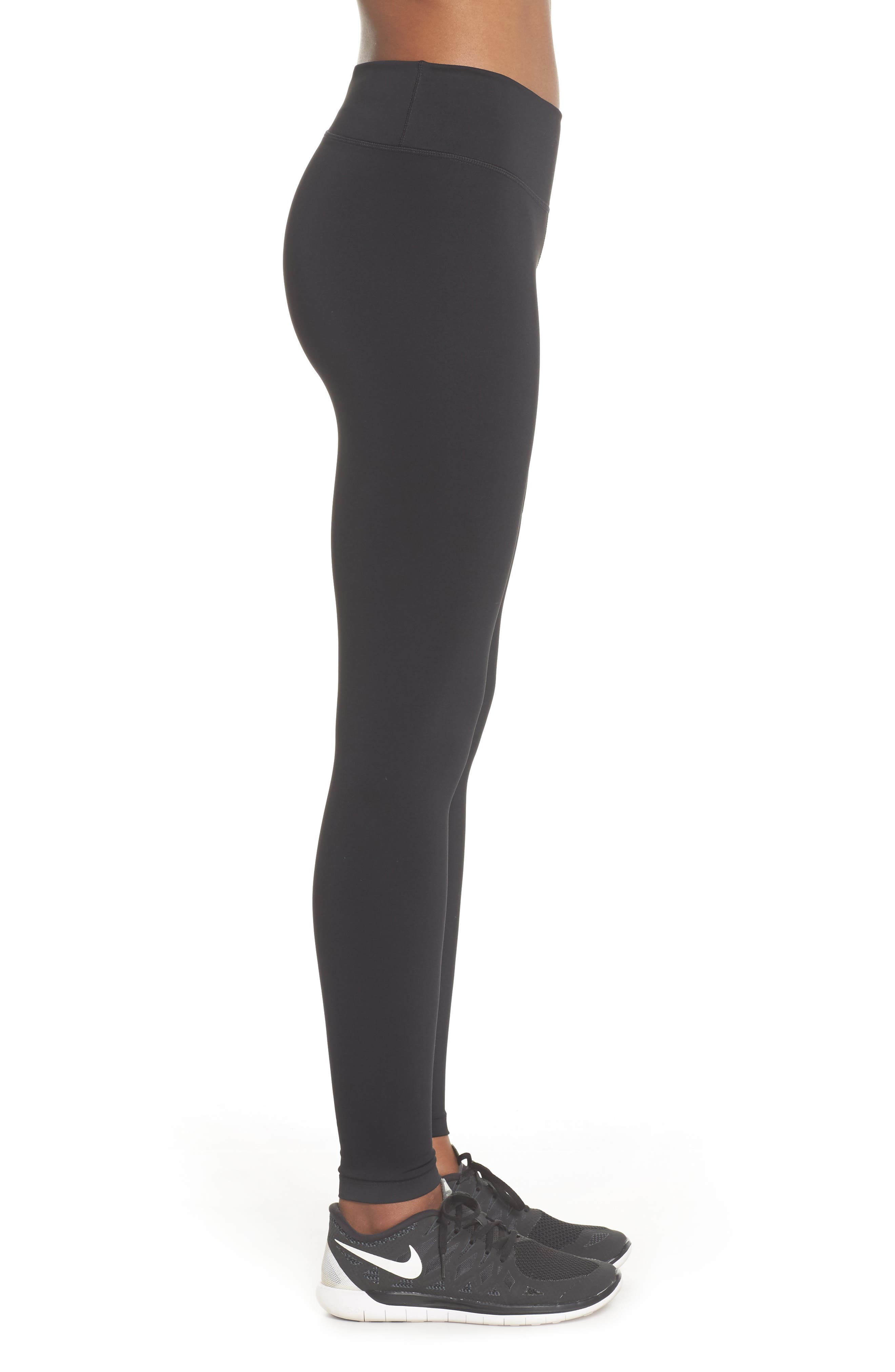 NIKE, Power Tights, Alternate thumbnail 4, color, BLACK/ CLEAR