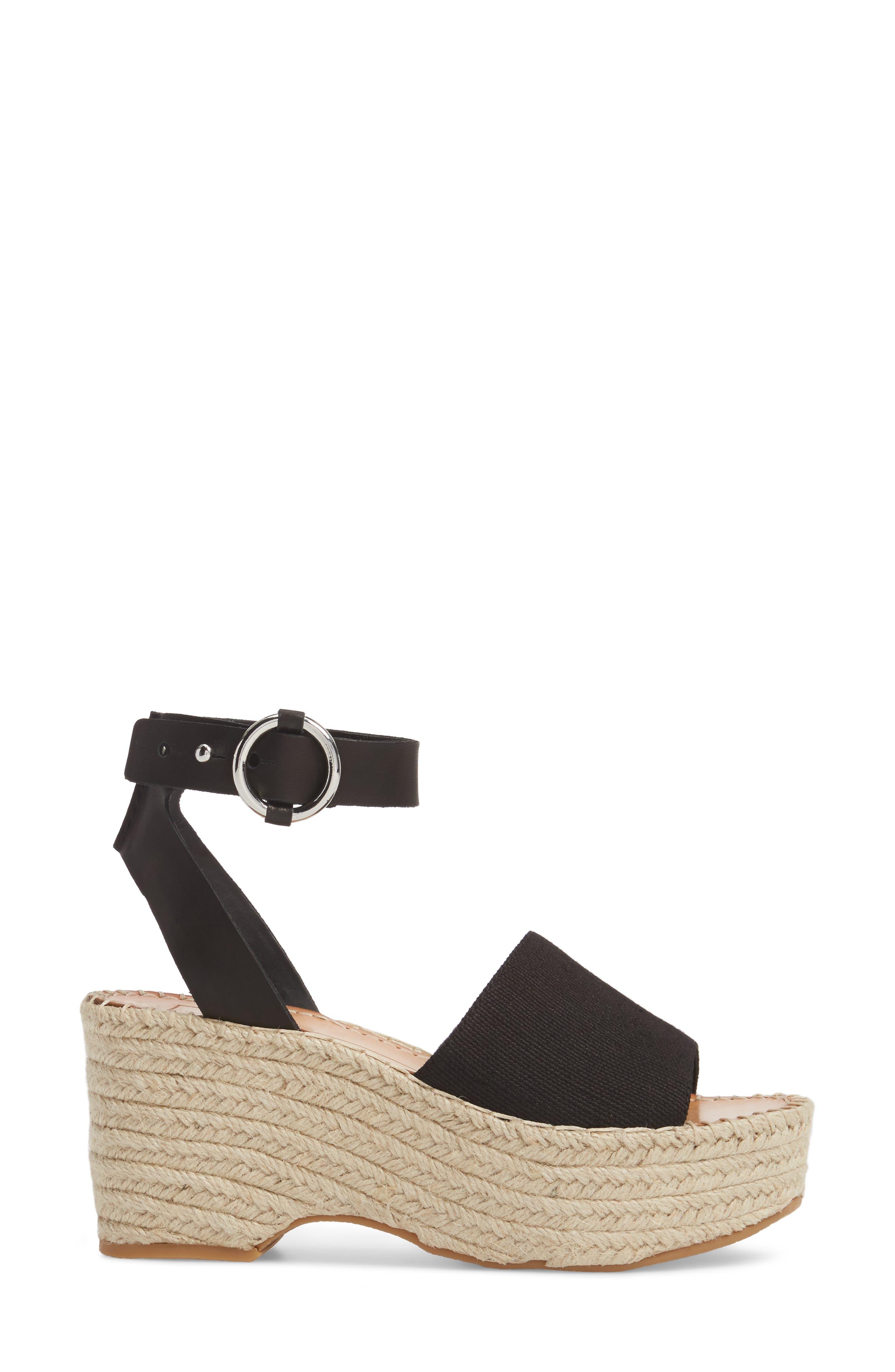 DOLCE VITA, Lesly Espadrille Platform Sandal, Alternate thumbnail 3, color, 001