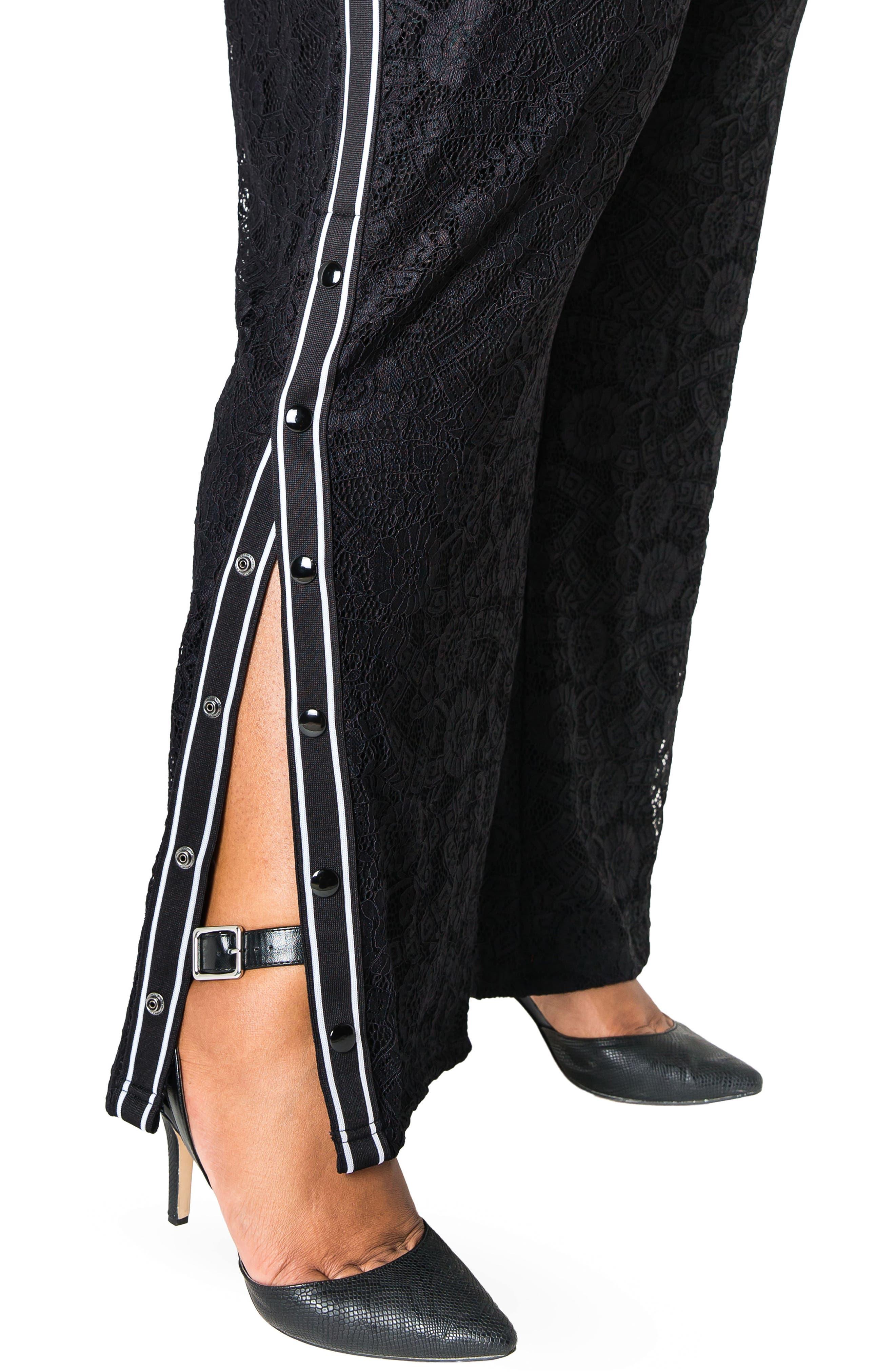 POETIC JUSTICE, Cornella High Rise Lace Knit Track Pants, Alternate thumbnail 4, color, BLACK