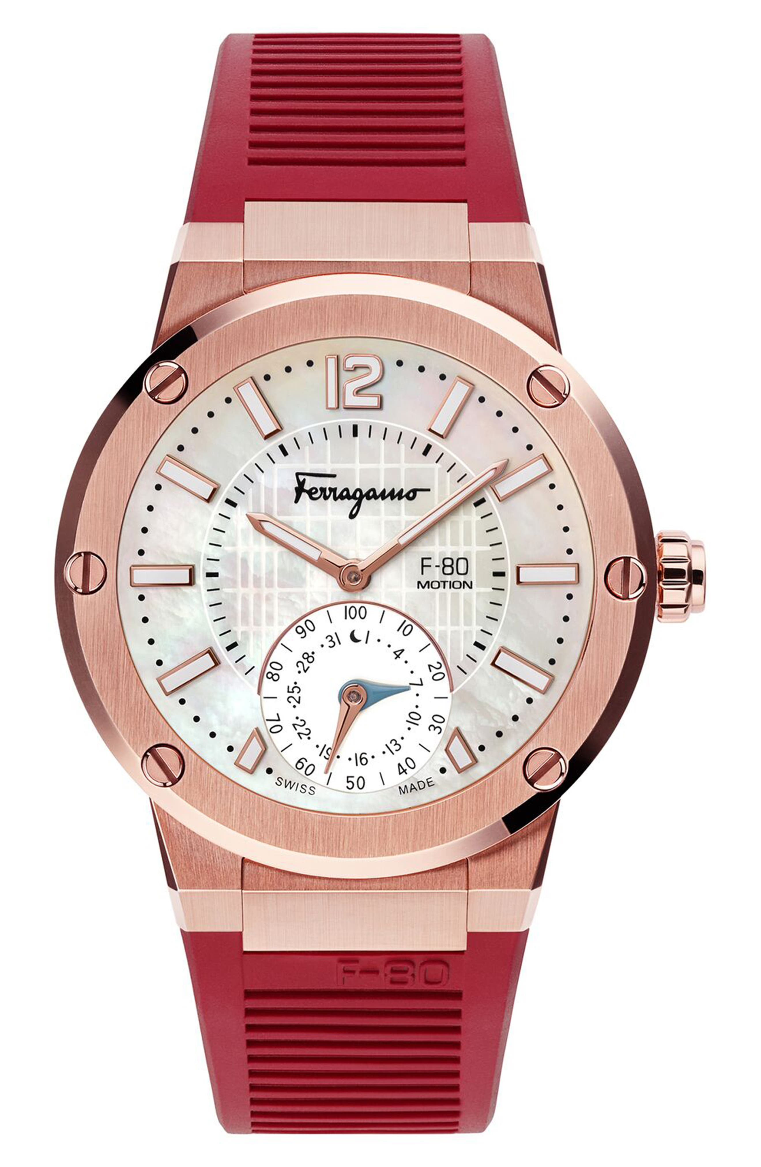 SALVATORE FERRAGAMO, F-80 Motion Rubber Strap Smart Watch, 44mm, Alternate thumbnail 3, color, BURGUNDY/ WHITE MOP/ ROSE GOLD
