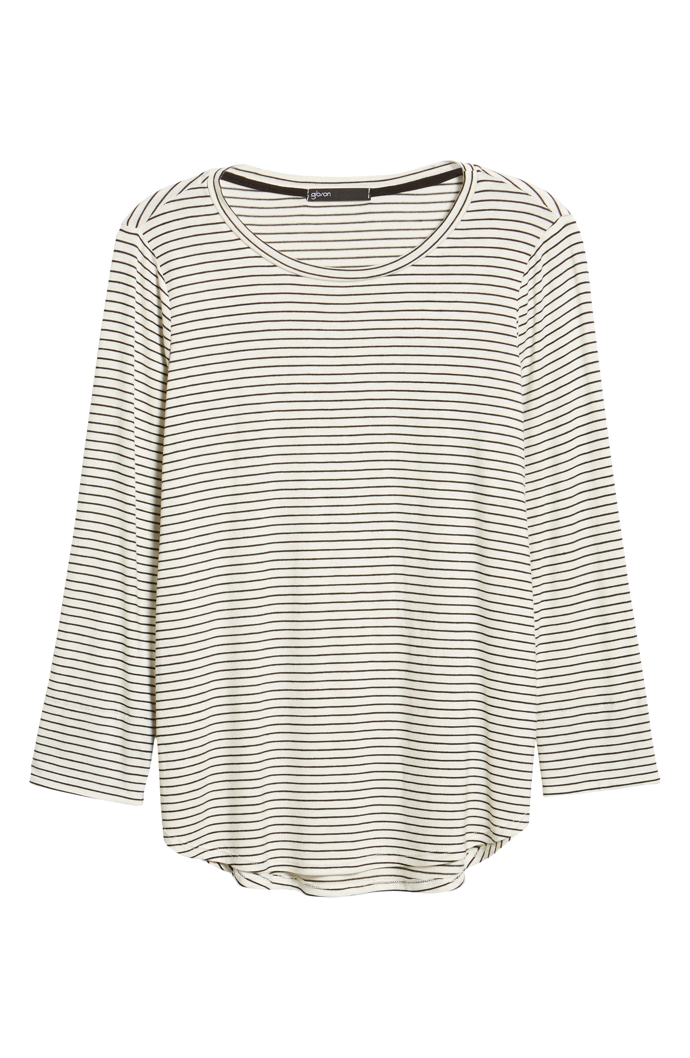 GIBSON, x Living in Yellow Alice Stripe Jersey Top, Alternate thumbnail 6, color, IVORY/ BLACK