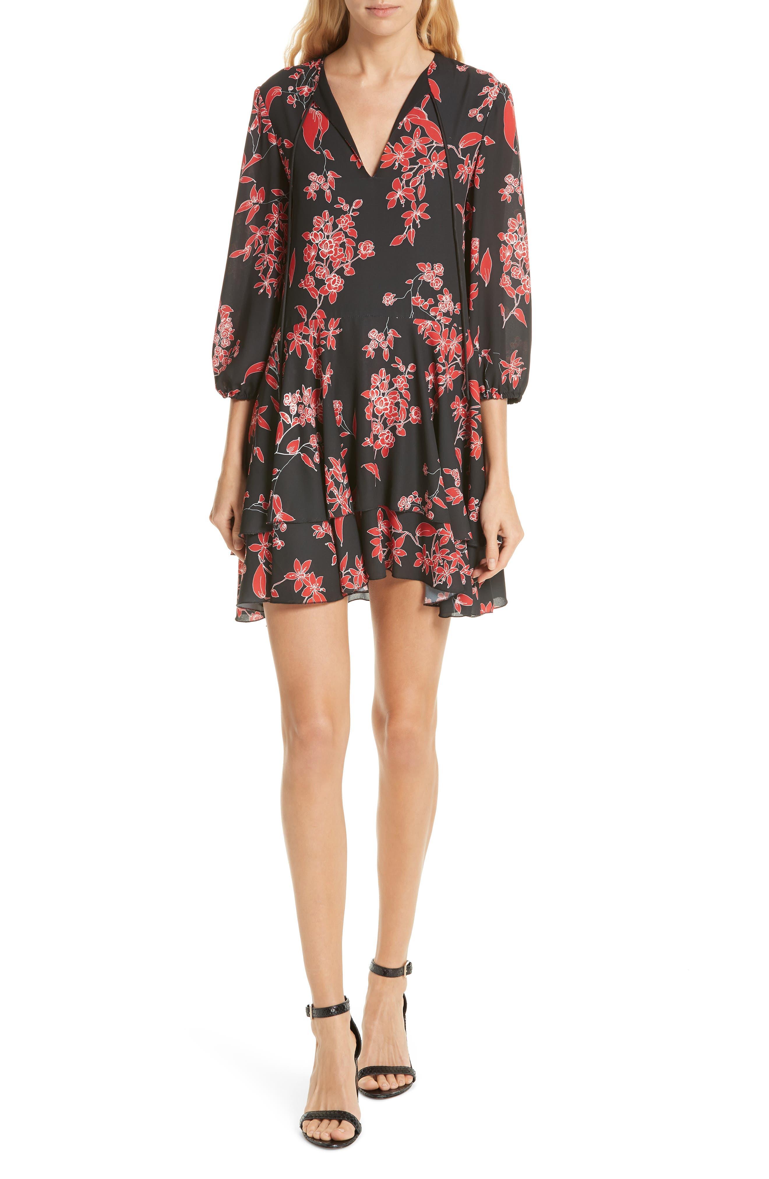 Alice + Olivia Moore Blouson Sleeve Dress, Black