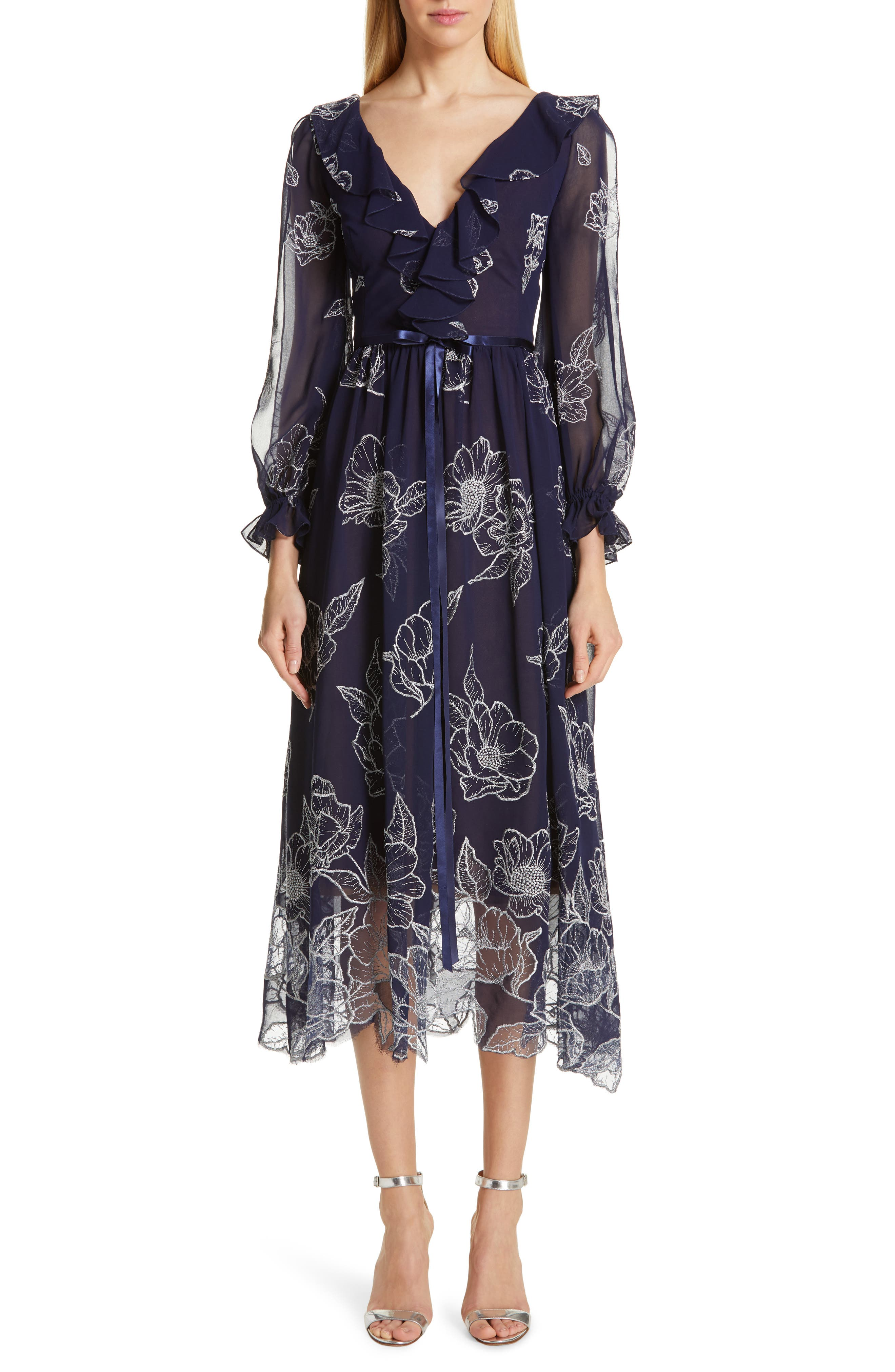 Marchesa Notte Floral Embroidered Cocktail Dress, Blue