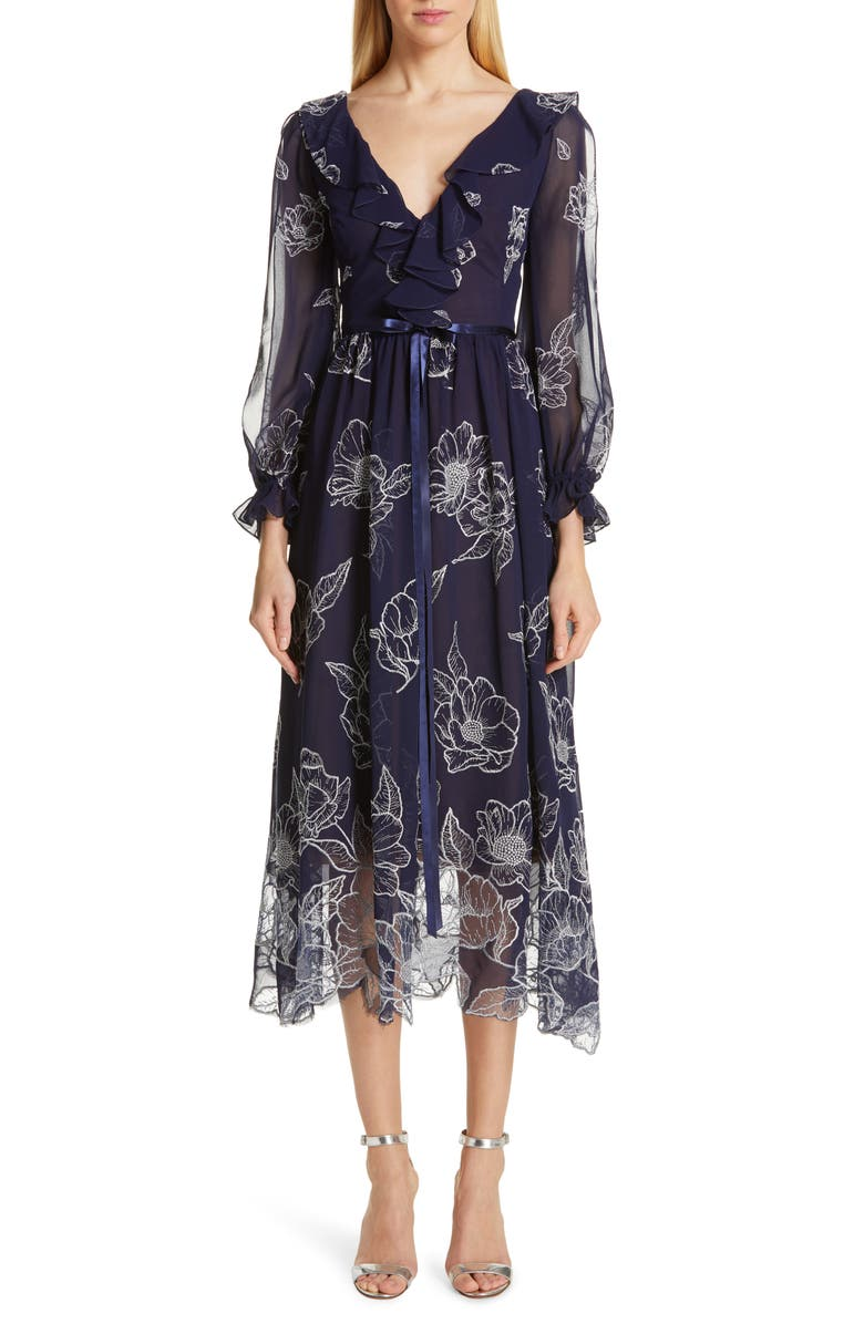 Marchesa Notte Dresses FLORAL EMBROIDERED COCKTAIL DRESS
