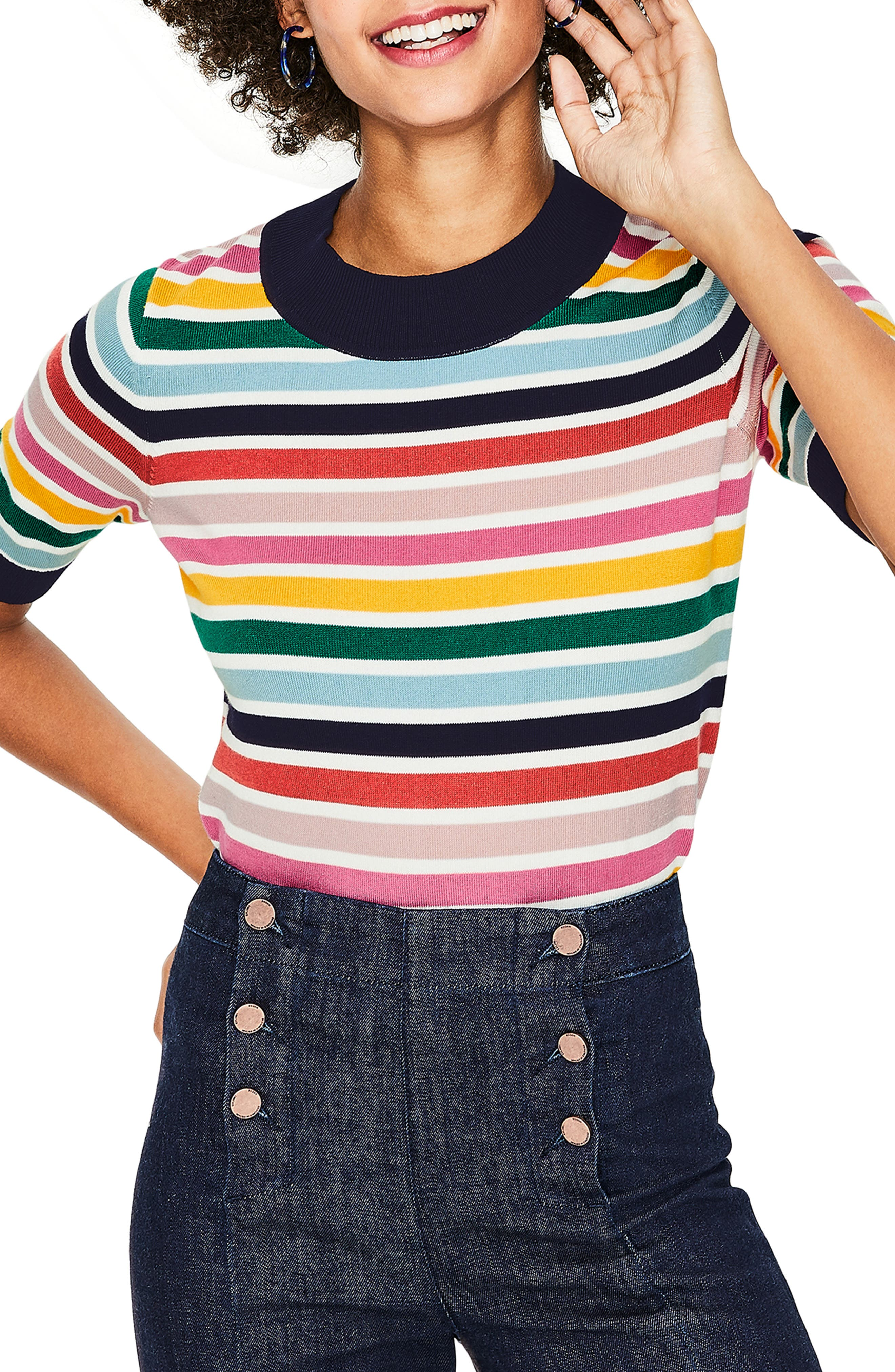 BODEN, Multicolor Knit Tee, Main thumbnail 1, color, MULTI STRIPE