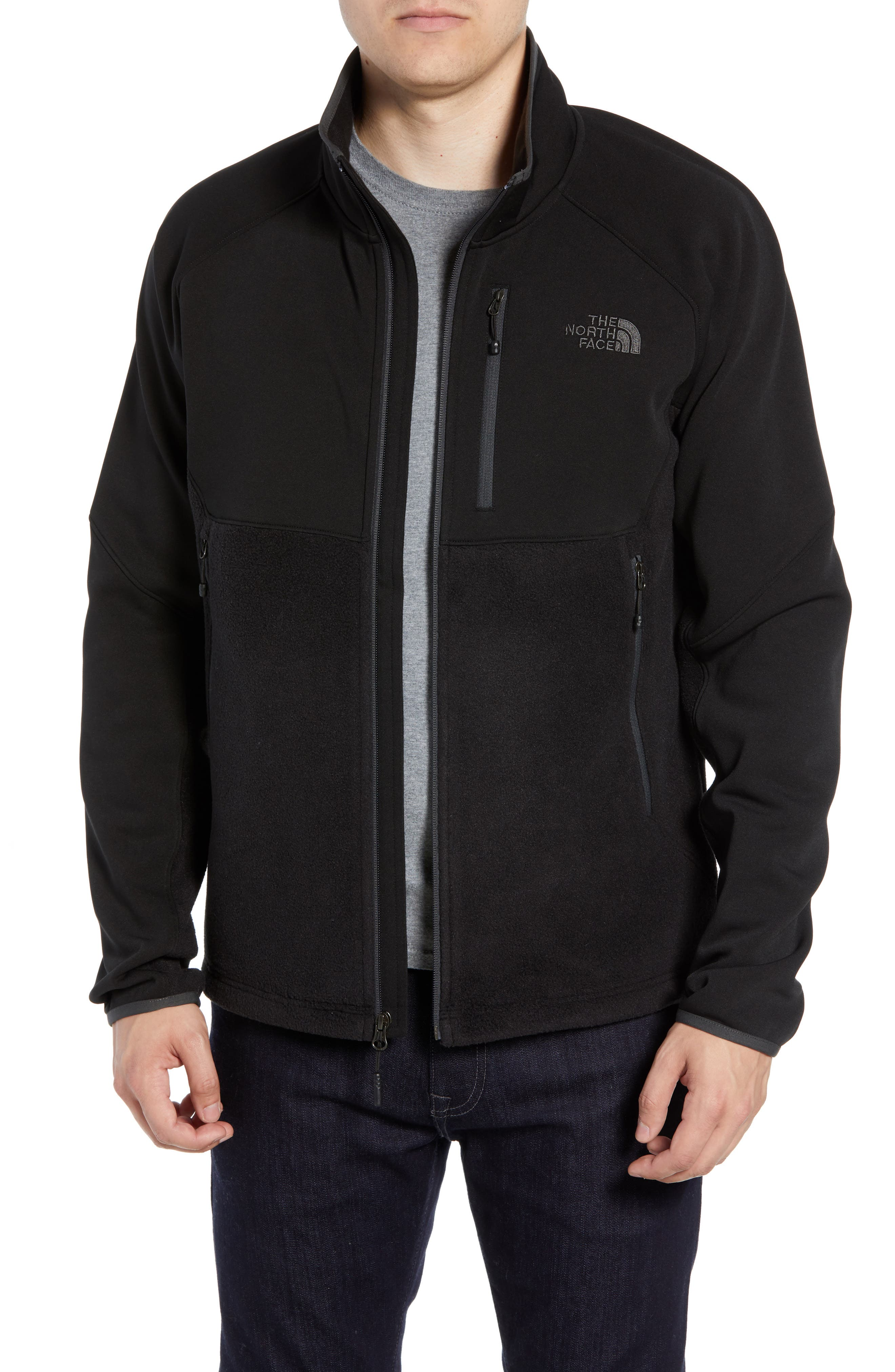 THE NORTH FACE, Tolmie Peak Hybrid Water Repellent Zip Jacket, Main thumbnail 1, color, 001