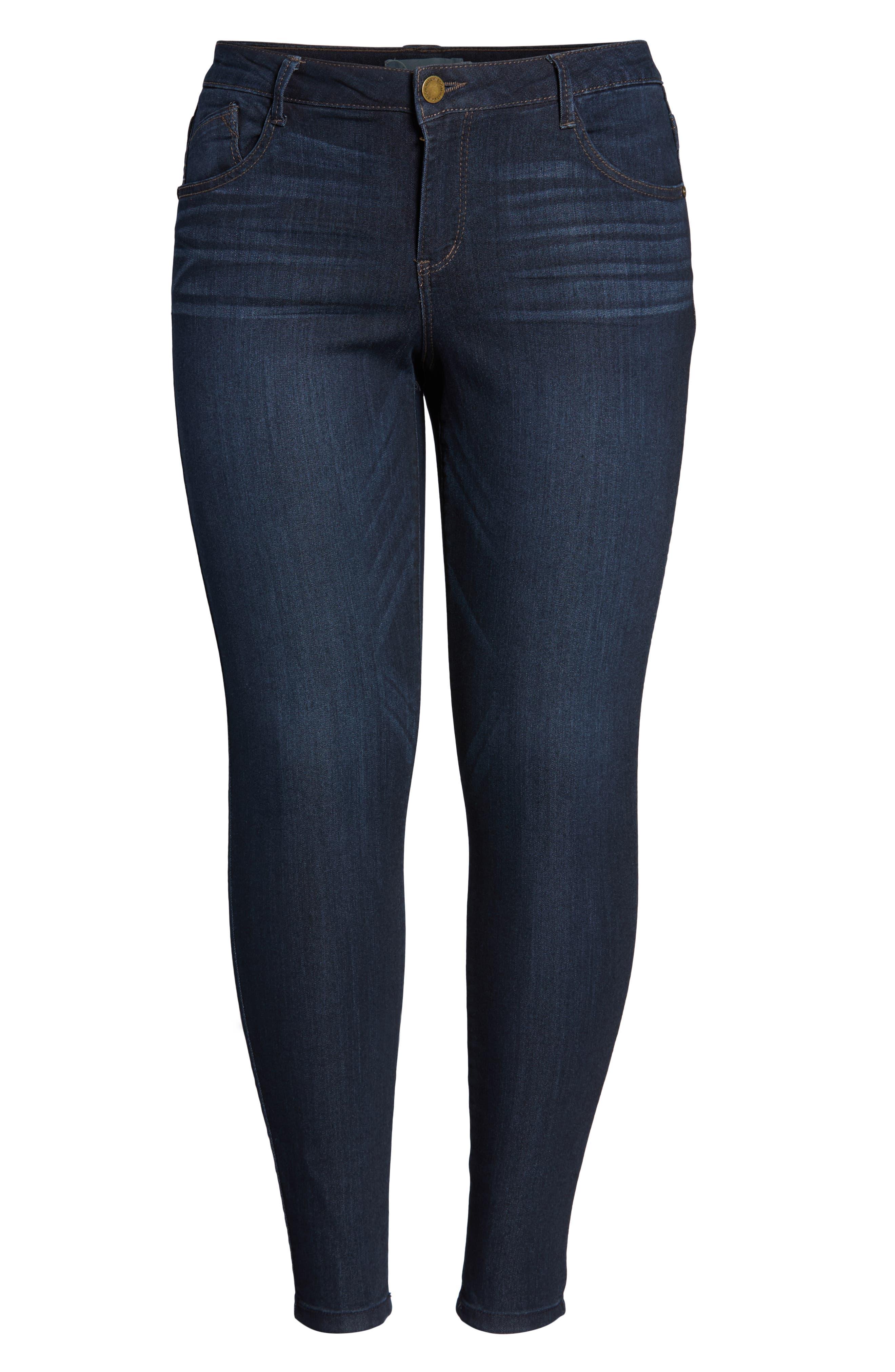 WIT & WISDOM, 'Super Smooth' Stretch Skinny Jeans, Alternate thumbnail 2, color, DARK NAVY