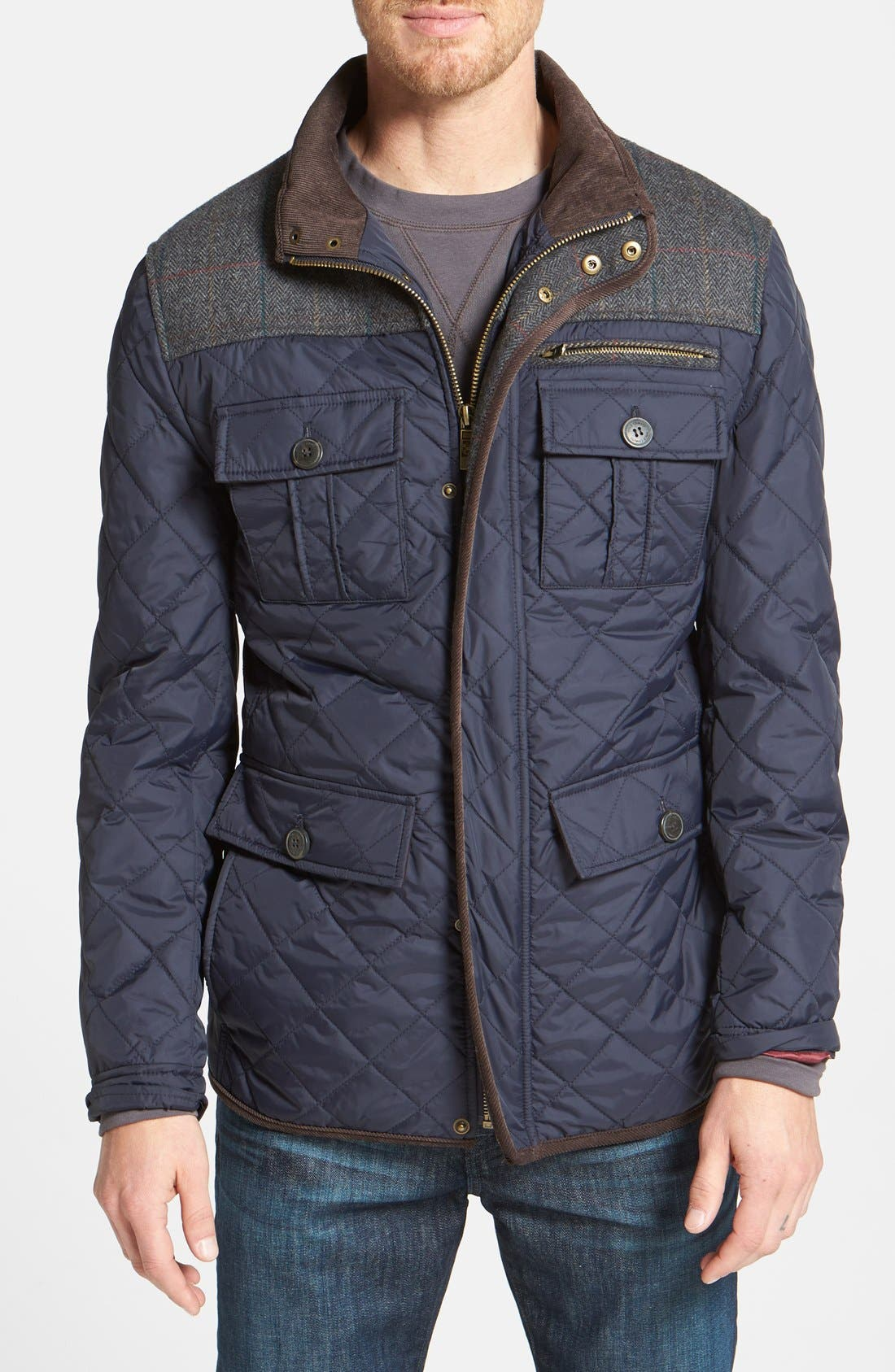 VINCE CAMUTO, Diamond Quilted Full Zip Jacket, Main thumbnail 1, color, NAVY