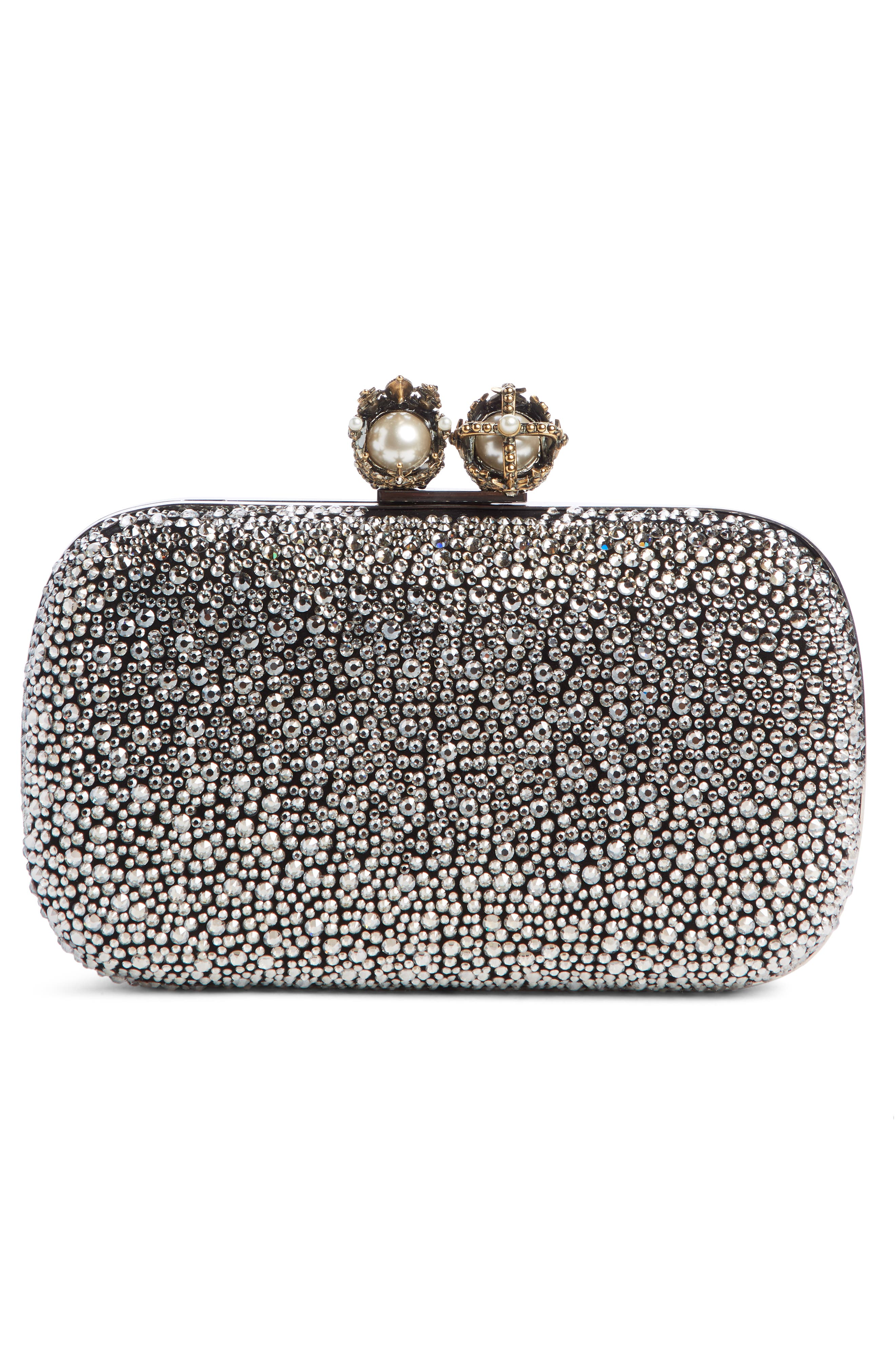 ALEXANDER MCQUEEN, Crystal Embellished Queen & King Clutch, Alternate thumbnail 3, color, BLACK