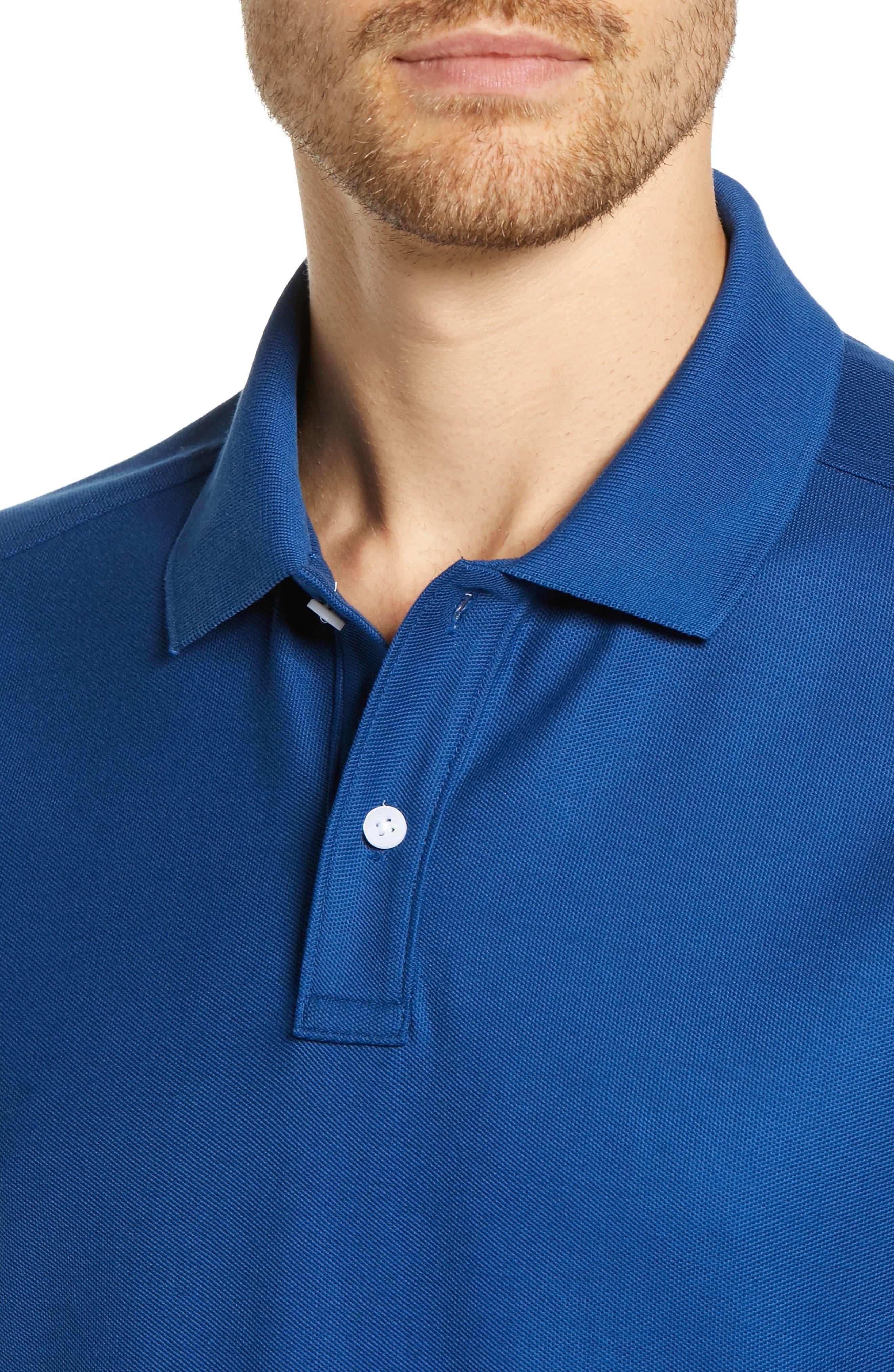 NORDSTROM MEN'S SHOP, Regular Fit Piqué Polo, Alternate thumbnail 4, color, BLUE CASPIA
