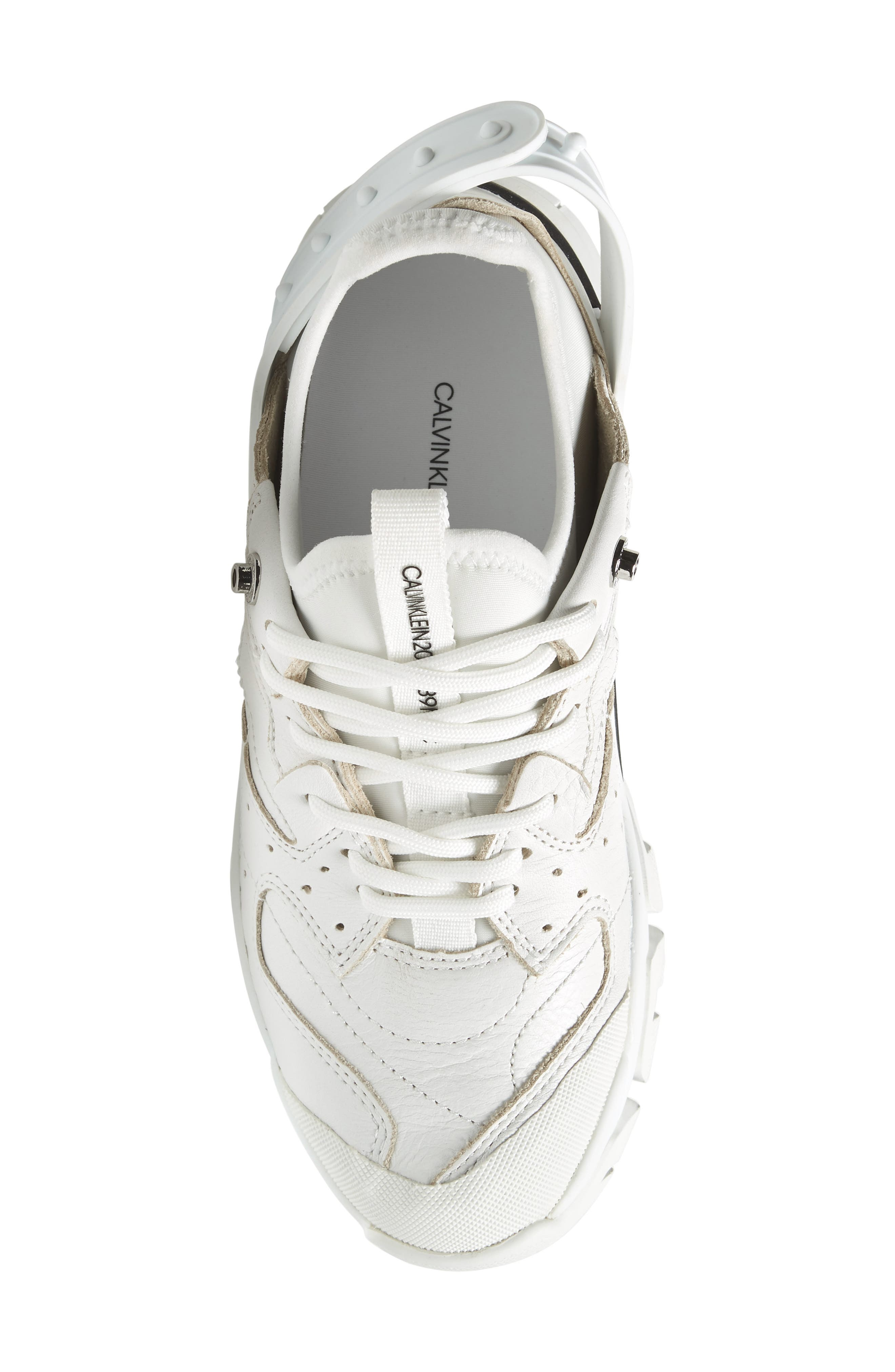 CALVIN KLEIN, 205W39NYC Carla Sneaker, Alternate thumbnail 5, color, WHITE/ BLACK/ BLACK