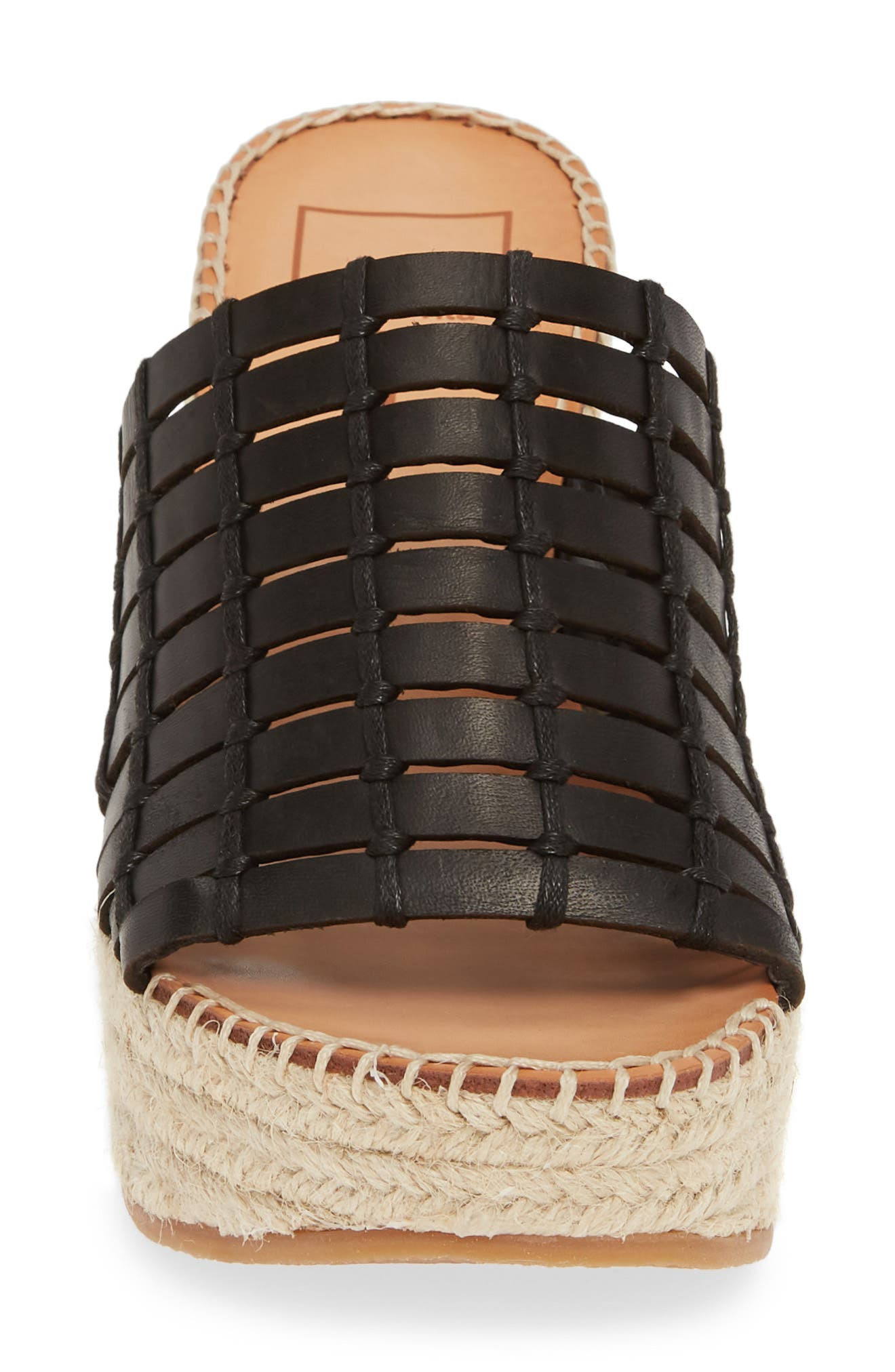 DOLCE VITA, Prue Espadrille Wedge Slide Sandal, Alternate thumbnail 4, color, BLACK LEATHER