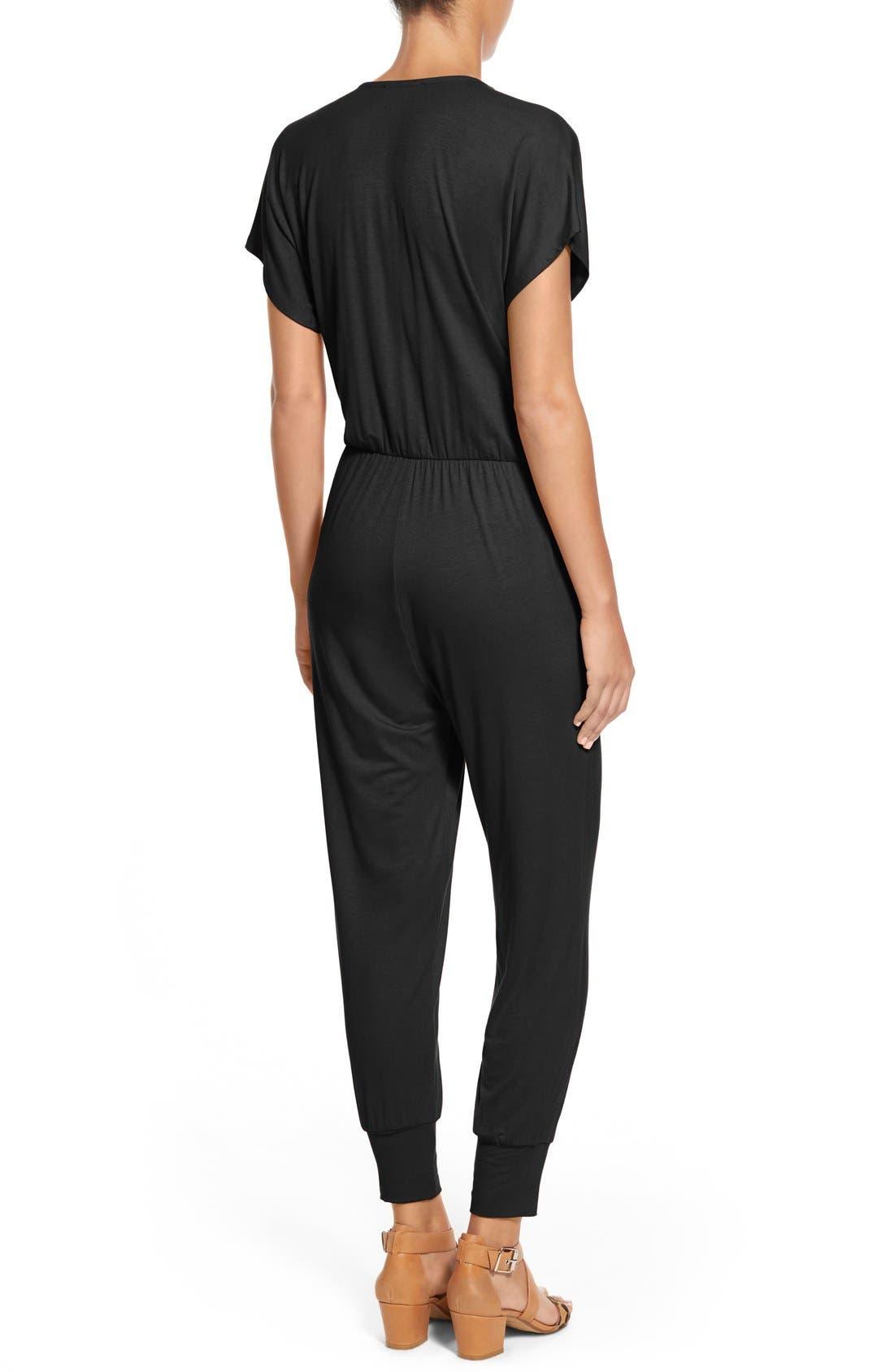 LOVEAPPELLA, Short Sleeve Wrap Top Jumpsuit, Alternate thumbnail 4, color, BLACK