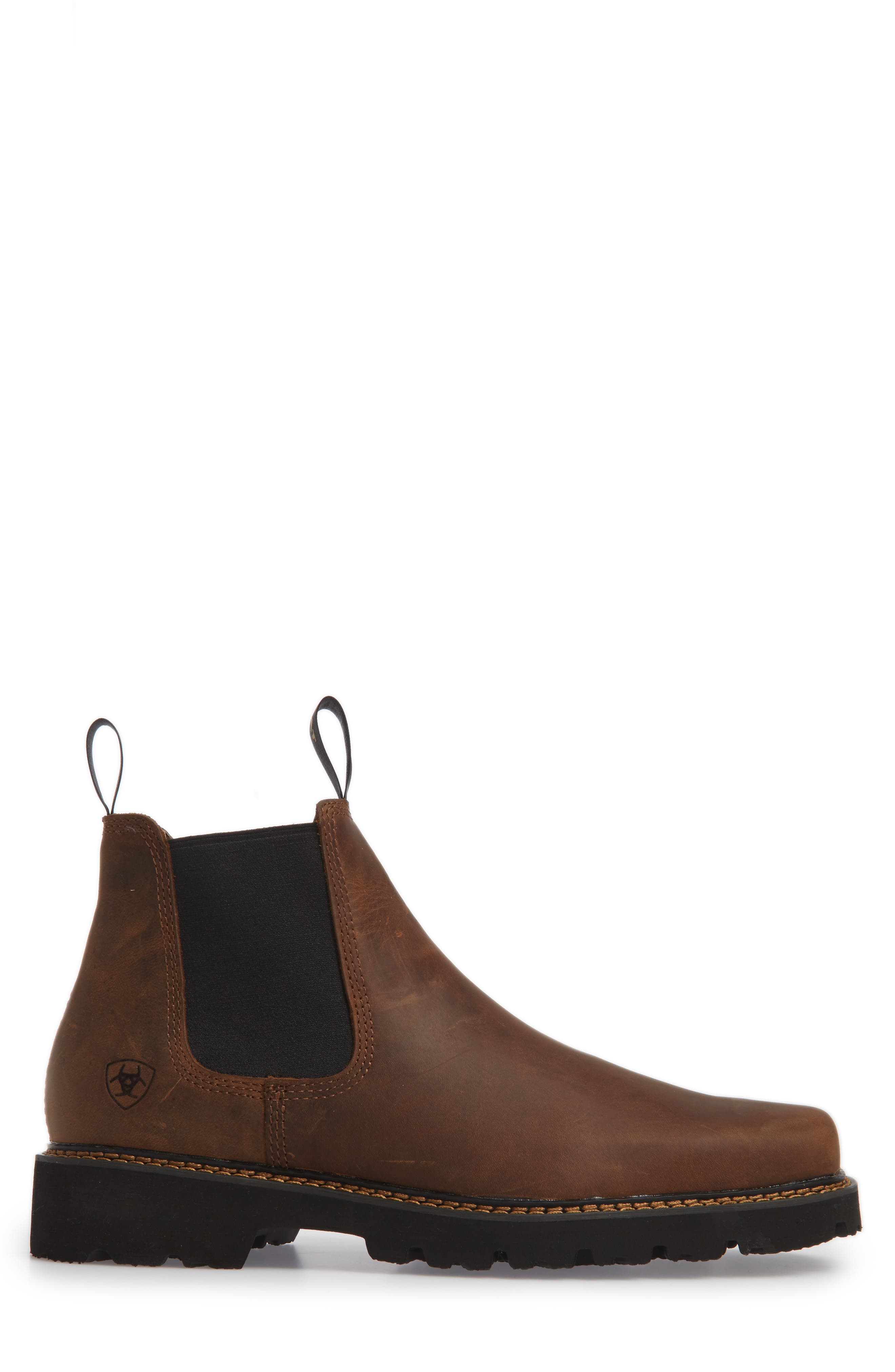 ARIAT, 'Spot Hog' Chelsea Boot, Alternate thumbnail 3, color, DISTRESSED BROWN LEATHER