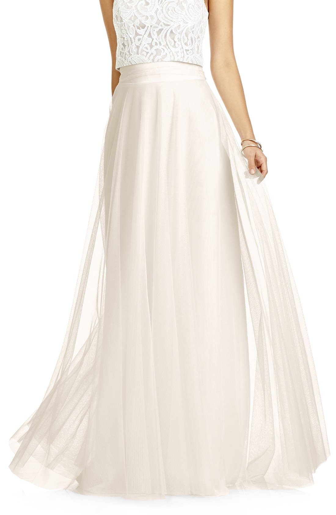 DESSY COLLECTION, Full Length Tulle Skirt, Main thumbnail 1, color, IVORY