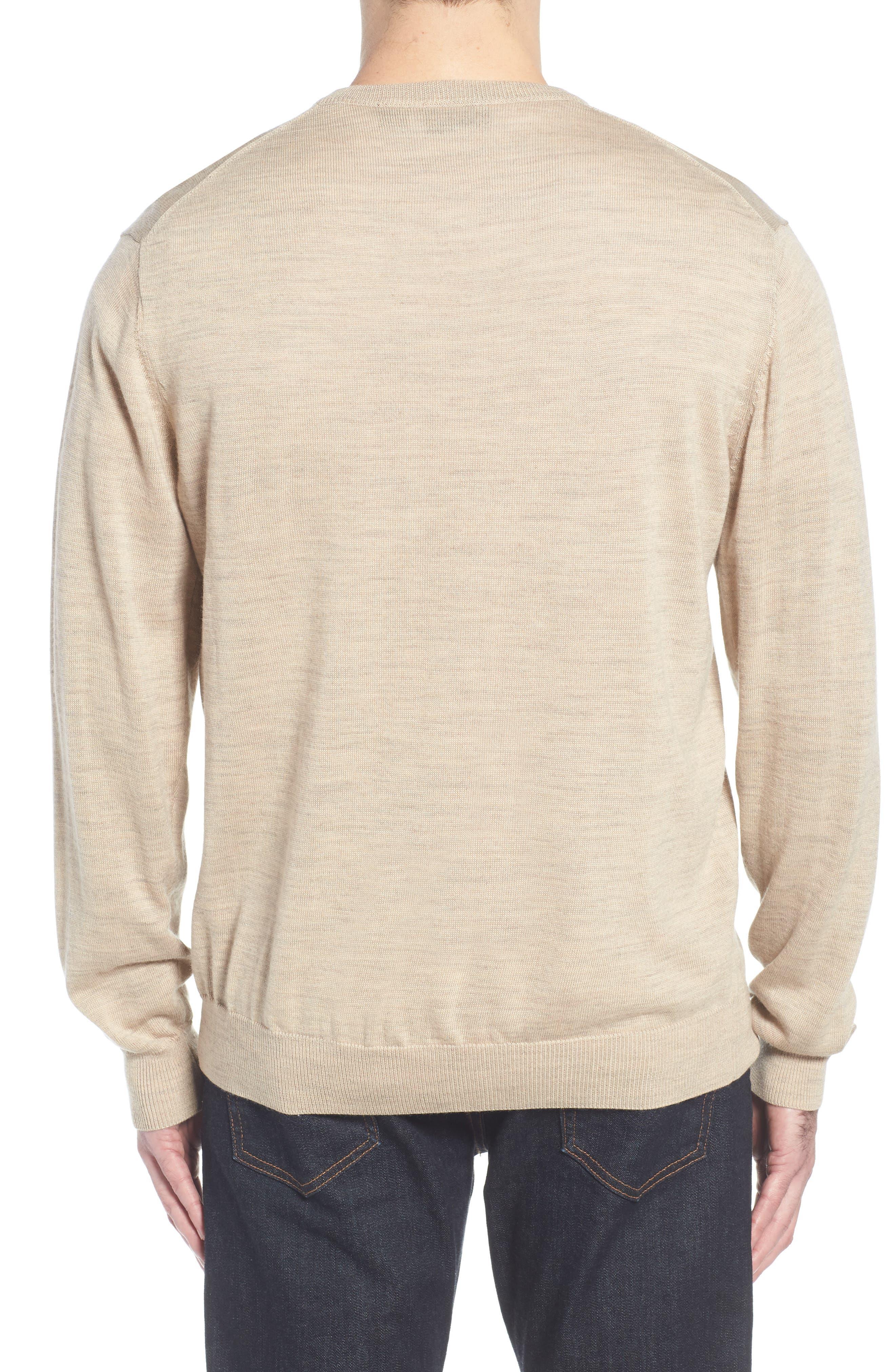 CUTTER & BUCK, 'Douglas' Merino Wool Blend V-Neck Sweater, Alternate thumbnail 2, color, SAND HEATHER