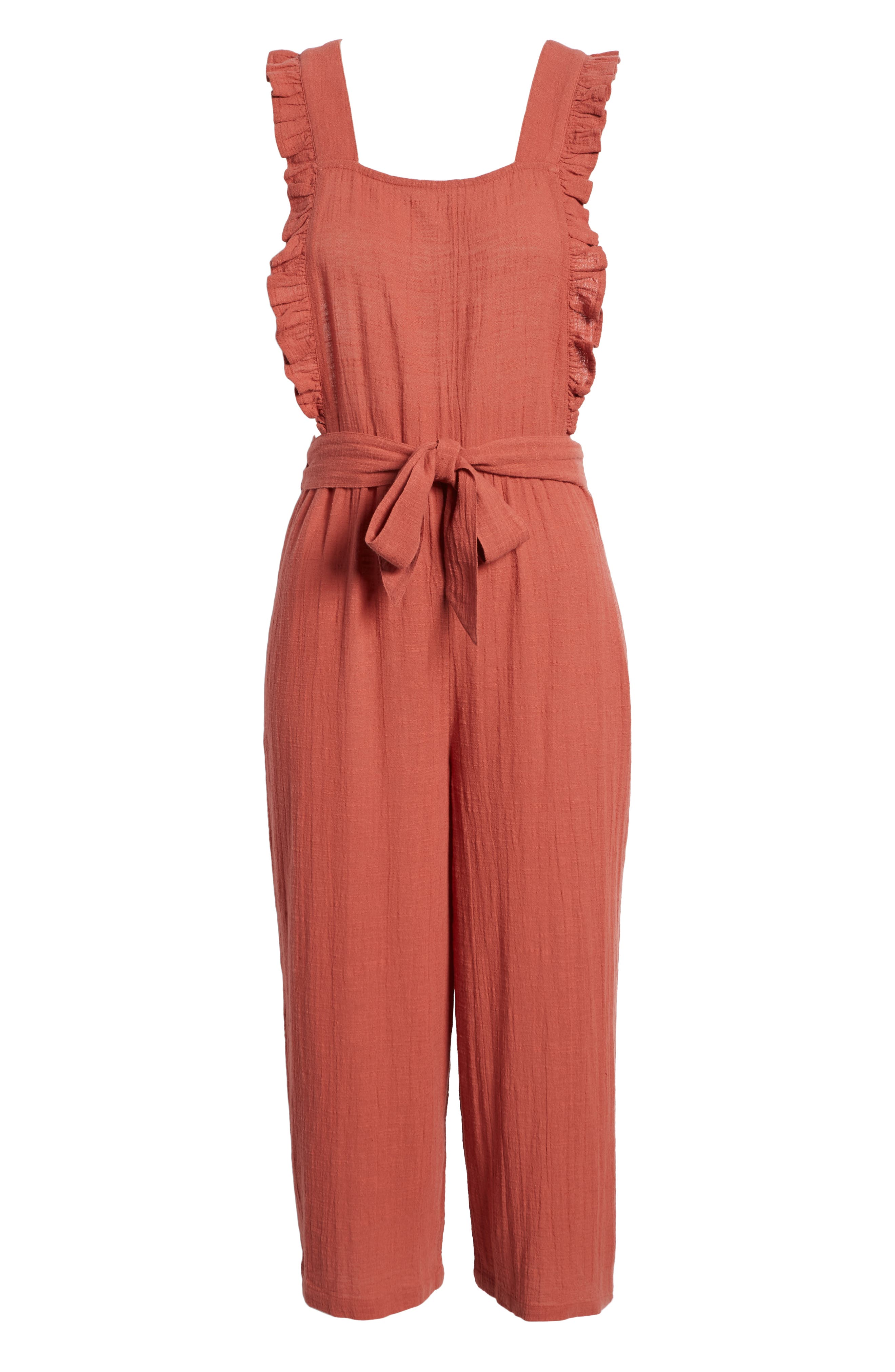TOPSHOP, Frill Crop Jumpsuit, Alternate thumbnail 7, color, 220