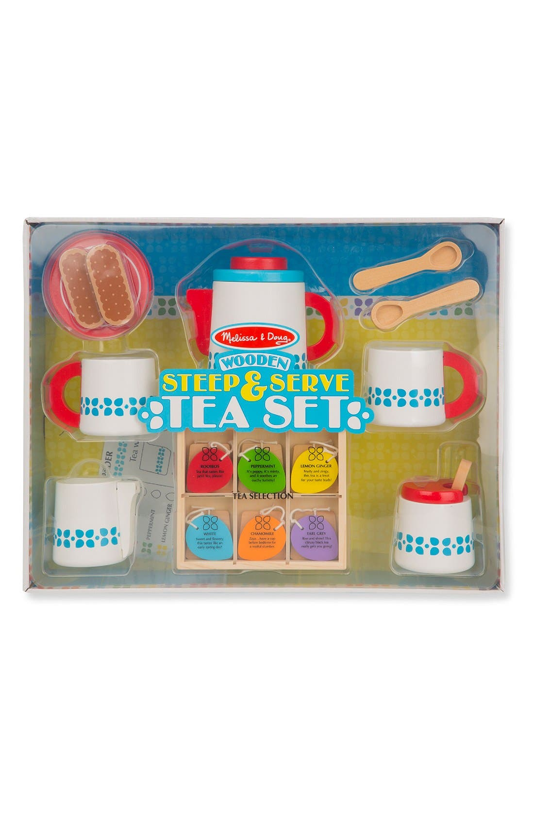 MELISSA & DOUG, 'Steep & Serve' Wooden Tea Set, Alternate thumbnail 3, color, MULTI