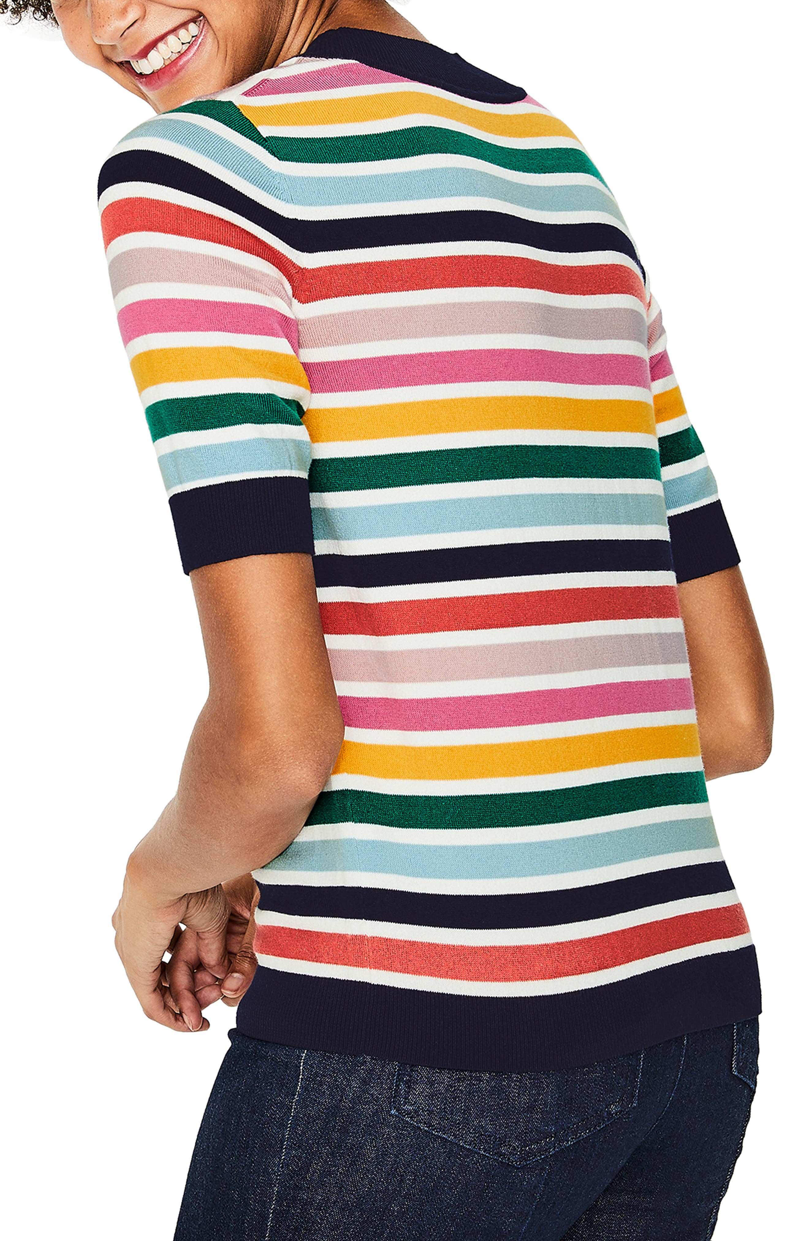 BODEN, Multicolor Knit Tee, Alternate thumbnail 2, color, MULTI STRIPE