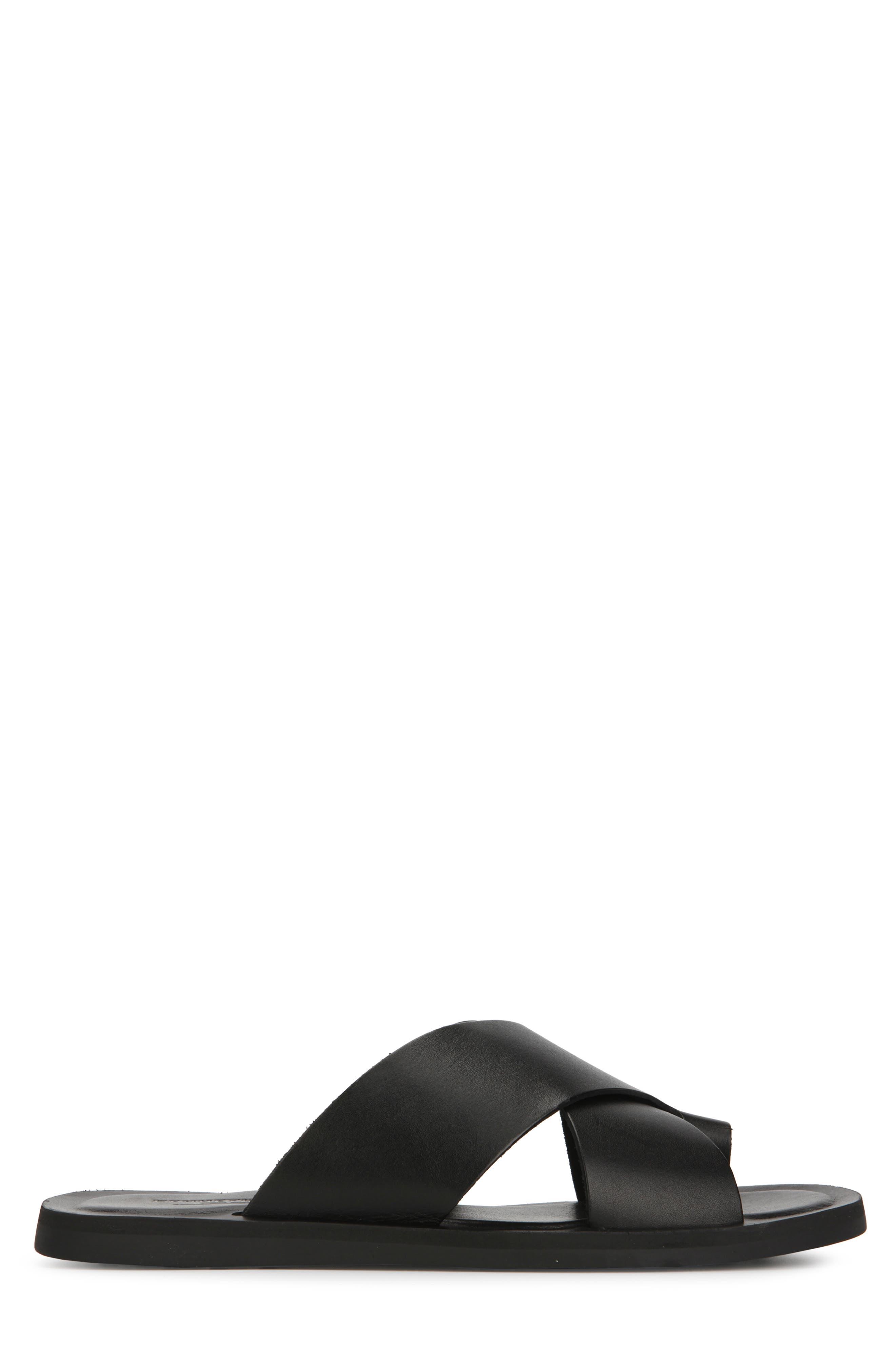 KENNETH COLE NEW YORK, Ideal Slide Sandal, Alternate thumbnail 2, color, BLACK LEATHER