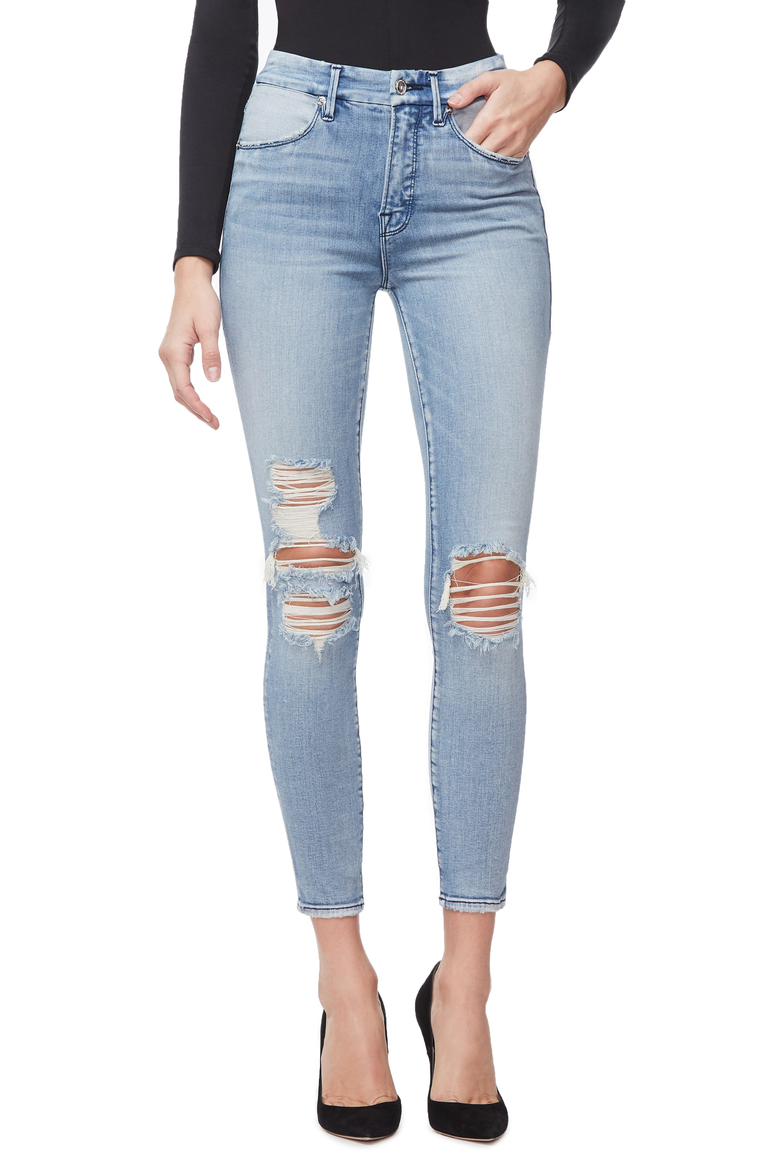 GOOD AMERICAN, Good Waist Ripped High Waist Crop Skinny Jeans, Main thumbnail 1, color, BLUE250