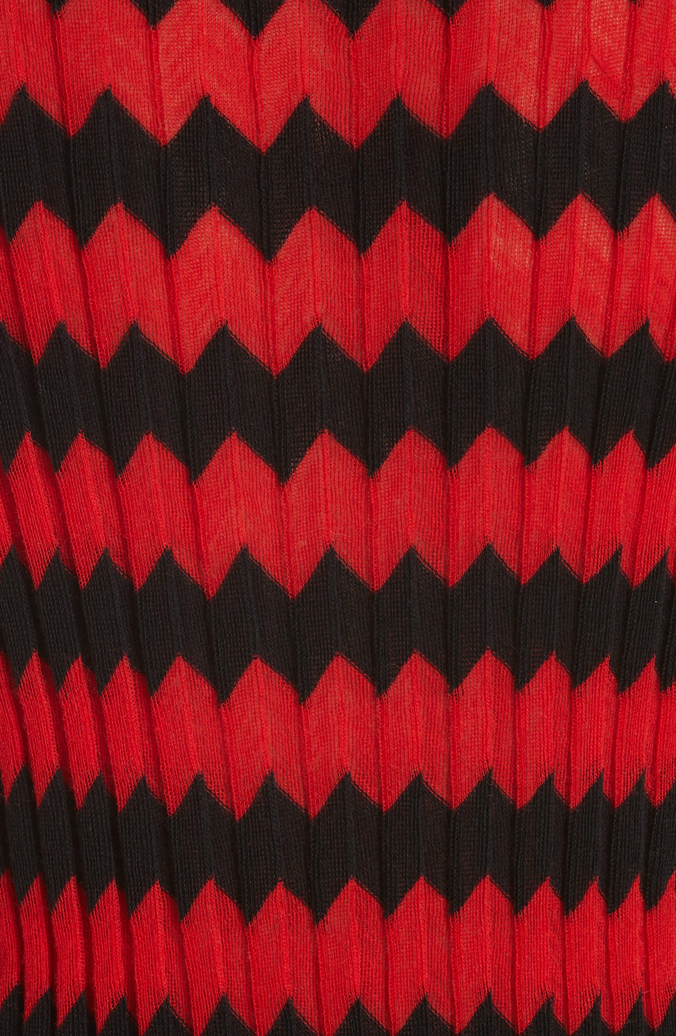 CALVIN KLEIN 205W39NYC, Chevron Stripe Wool Tank Top, Alternate thumbnail 5, color, RED BLACK