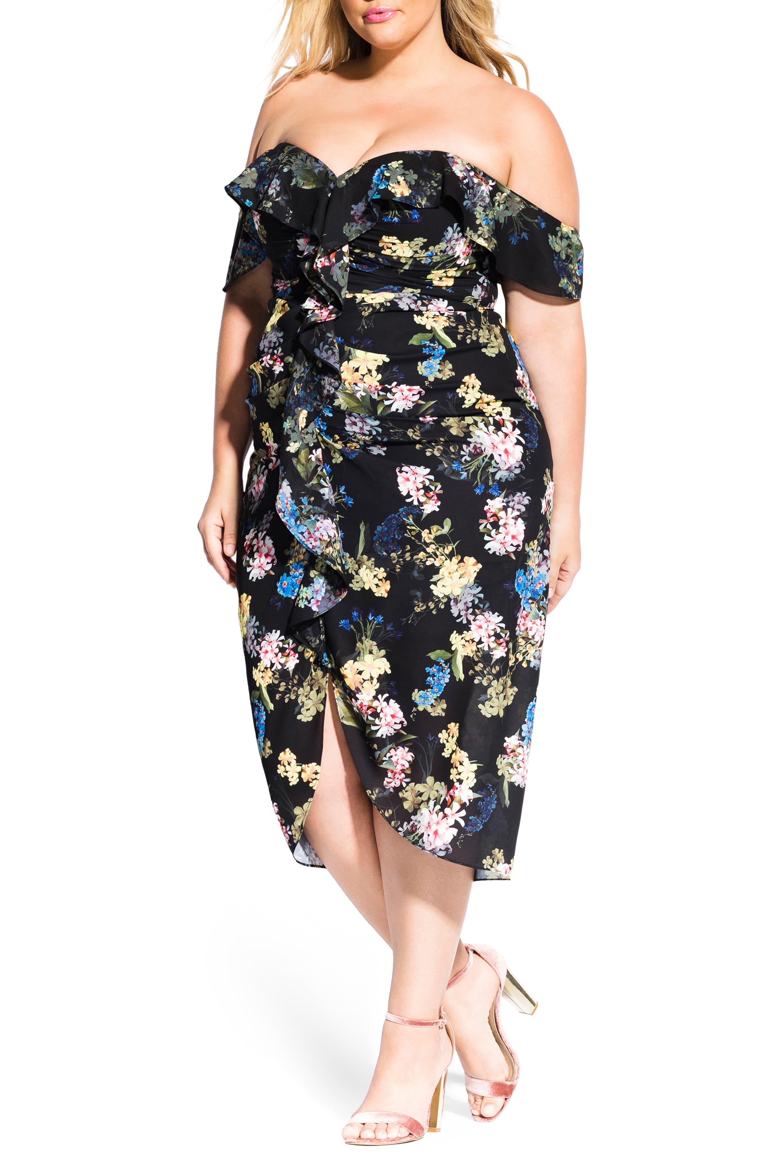 Plus Size City Chic Honey Suckle Midi Dress, Black