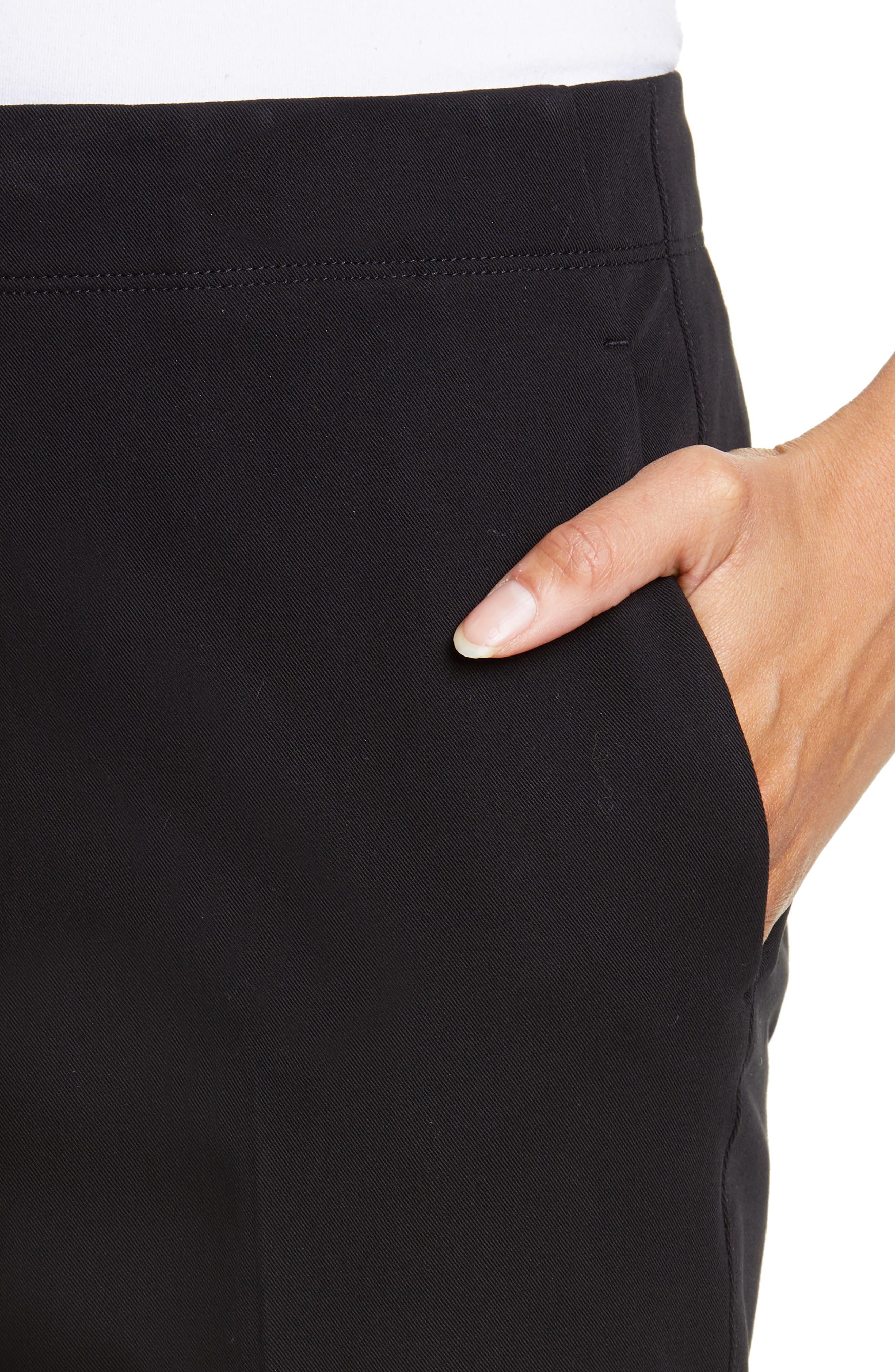 HELMUT LANG, Stretch Cotton Slim Trousers, Alternate thumbnail 4, color, BLACK