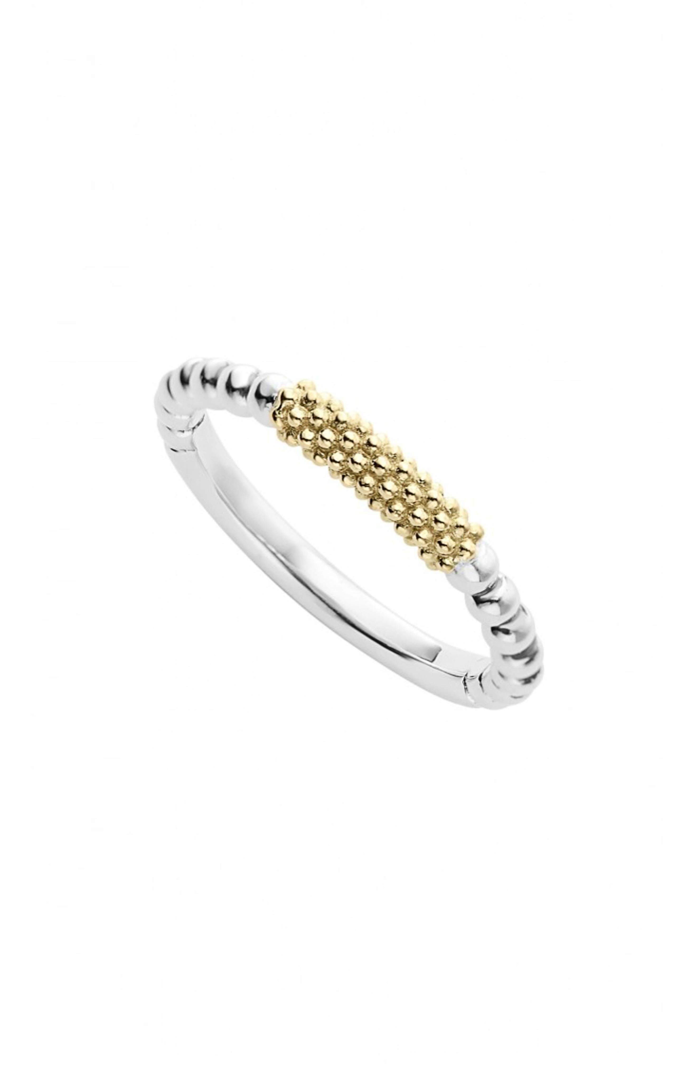LAGOS, 'Caviar Icon' Stacking Ring, Main thumbnail 1, color, SILVER/ GOLD