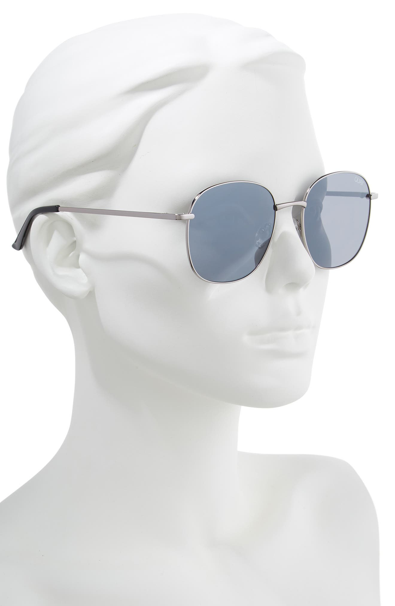 QUAY AUSTRALIA, Jezabell 57mm Round Sunglasses, Alternate thumbnail 2, color, GUNMETAL / SILVER MIRROR