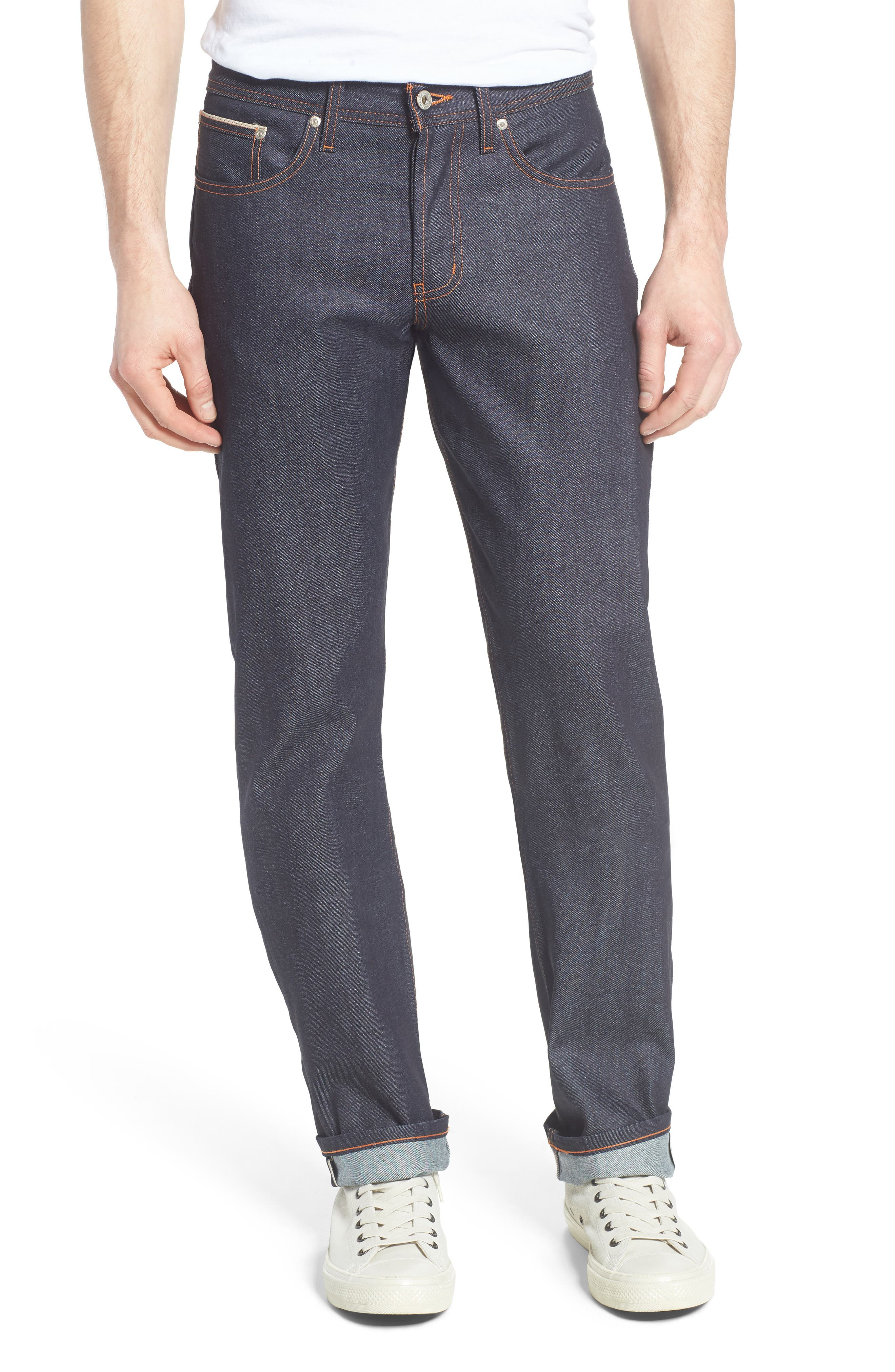 NAKED & FAMOUS DENIM, Weird Guy 11 oz. Slim Fit Stretch Selvedge Jeans, Main thumbnail 1, color, INDIGO