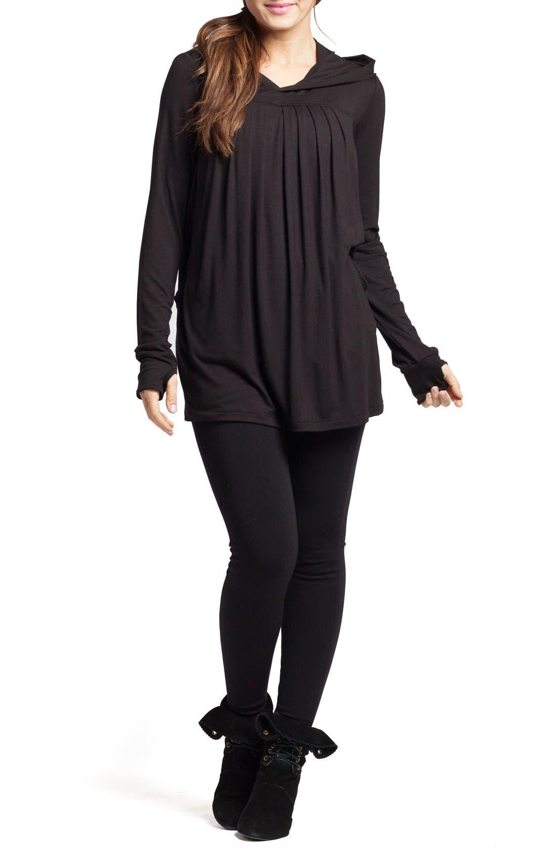 SAVI MOM Hooded Maternity/Nursing Tunic, Main, color, BLACK