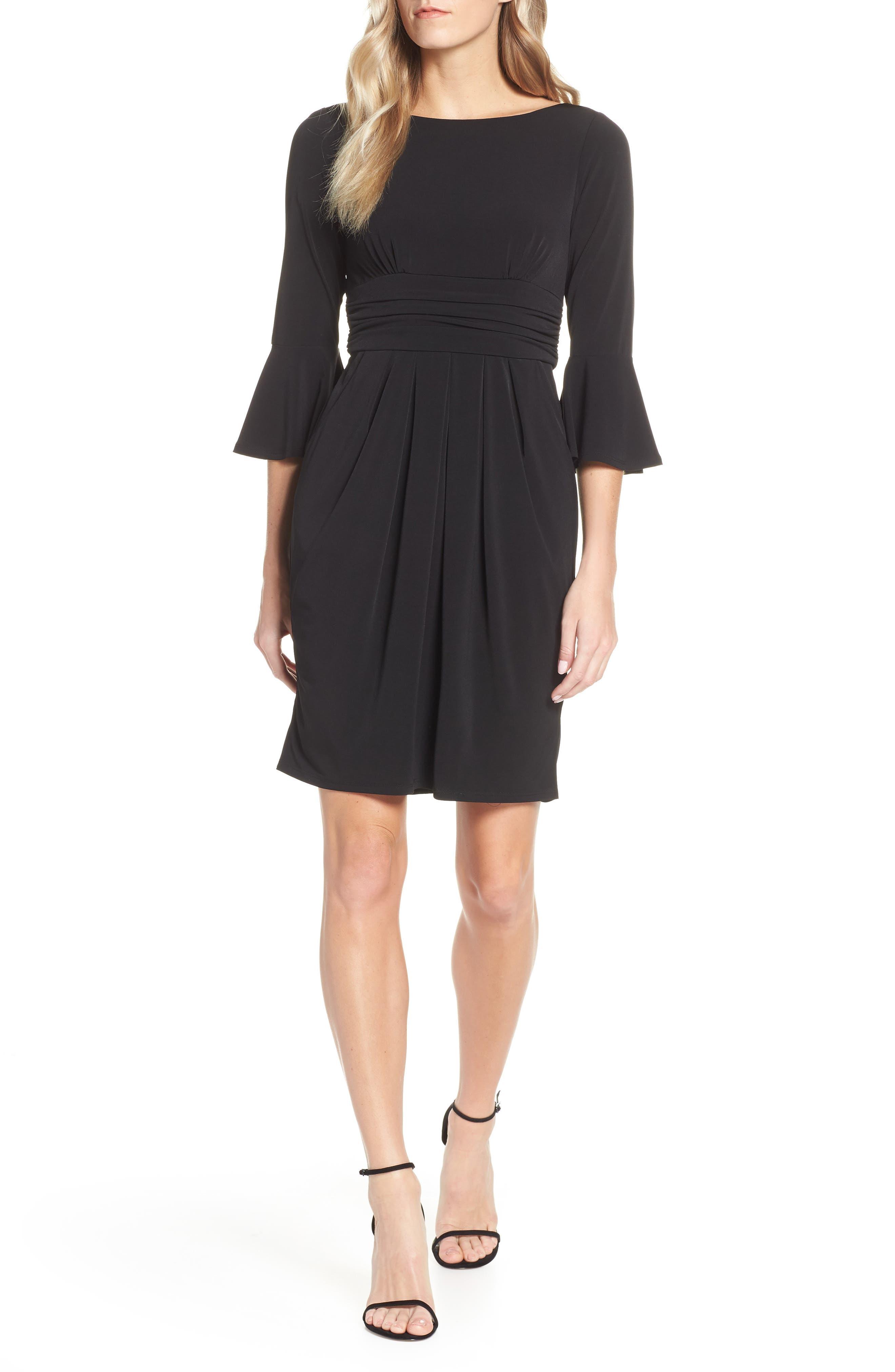 ELIZA J, Bell Sleeve Knit Sheath Dress, Main thumbnail 1, color, BLACK