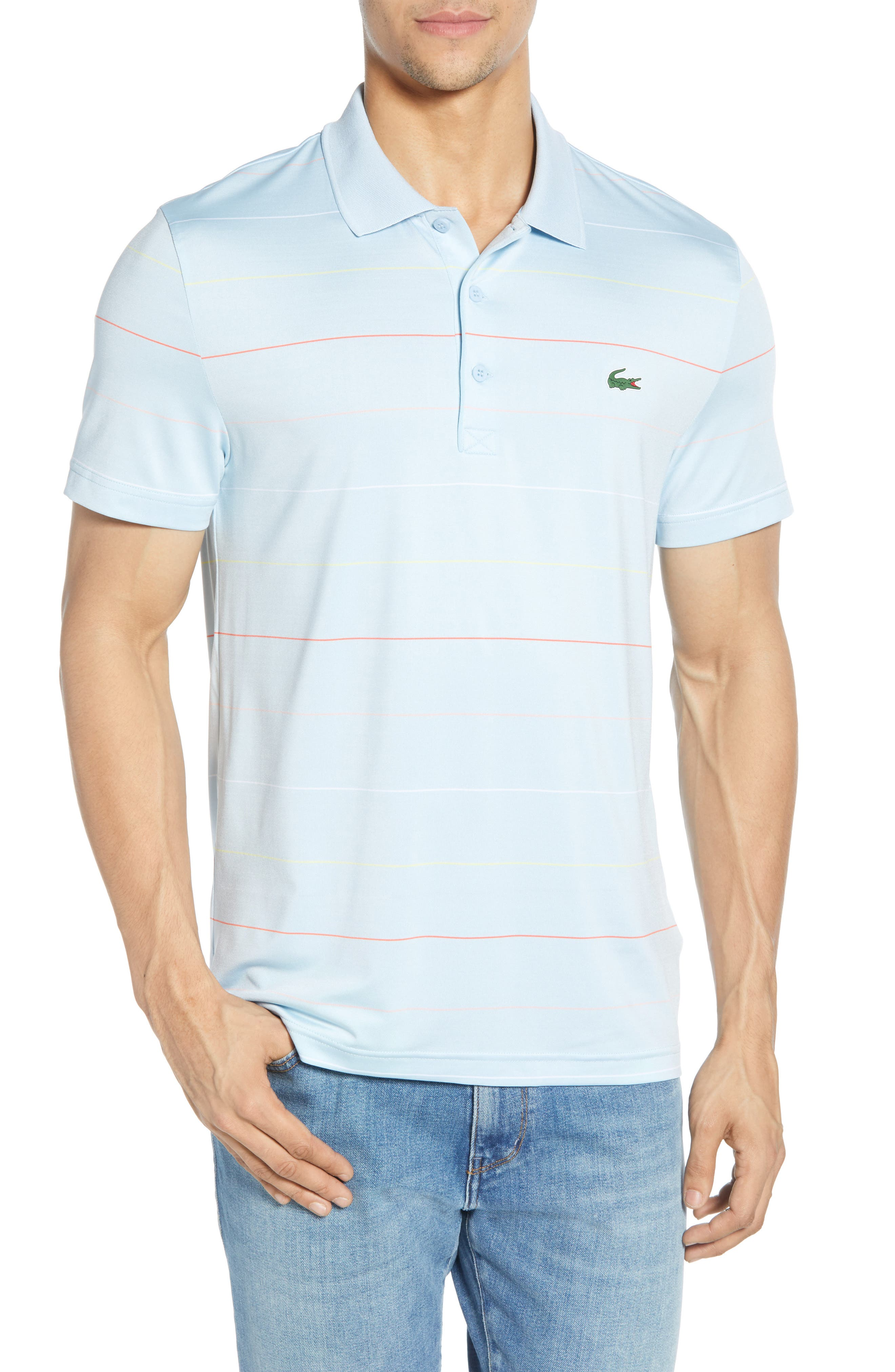 LACOSTE, Ultra Dry Regular Fit Tech Polo, Main thumbnail 1, color, DREAM BLUE/ MANGO