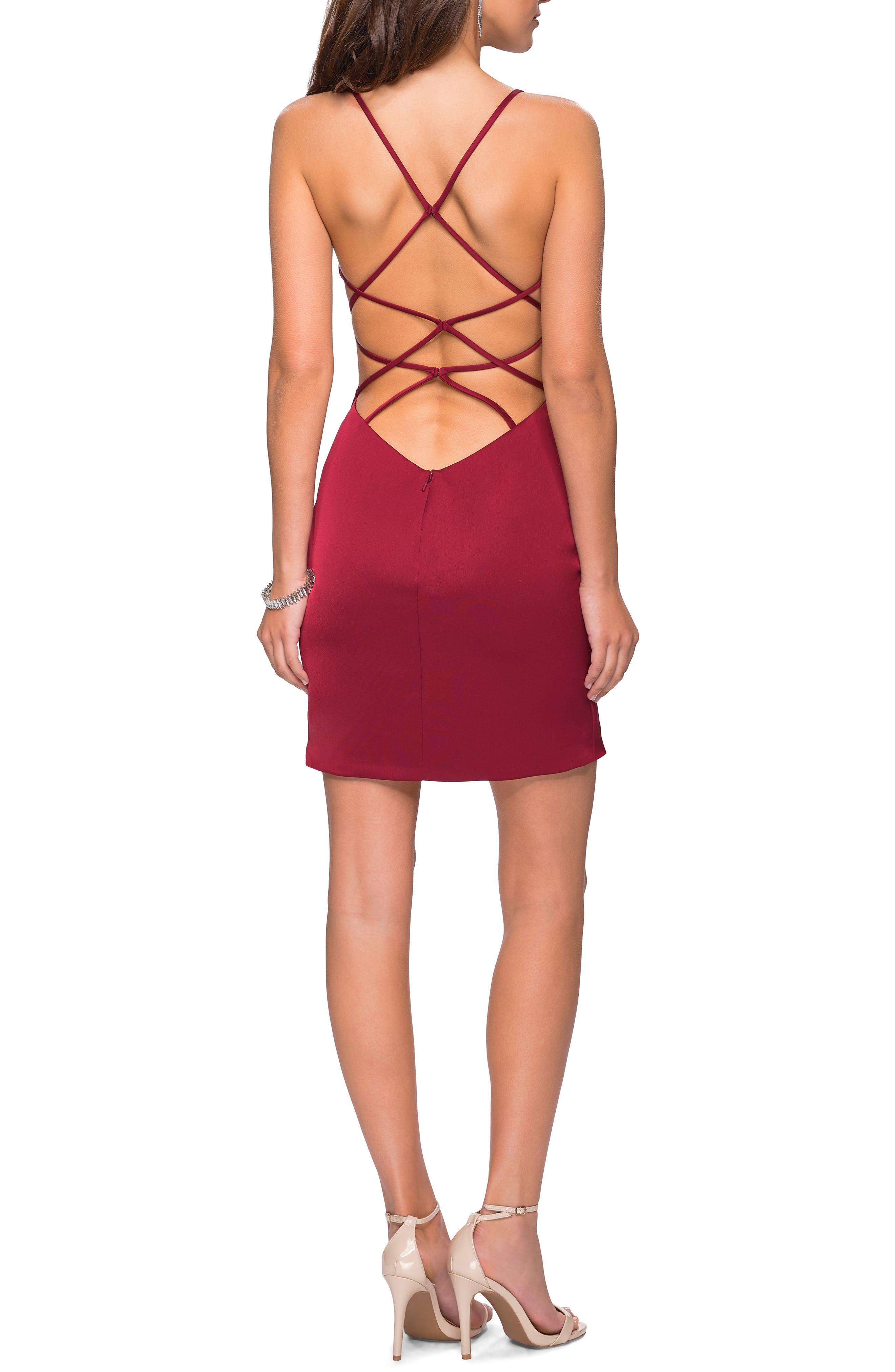 LA FEMME, Strappy Back Satin Party Dress, Alternate thumbnail 2, color, BURGUNDY