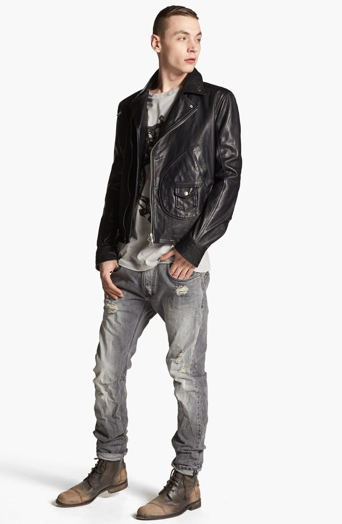 PIERRE BALMAIN, Leather Moto Jacket, Alternate thumbnail 3, color, 001