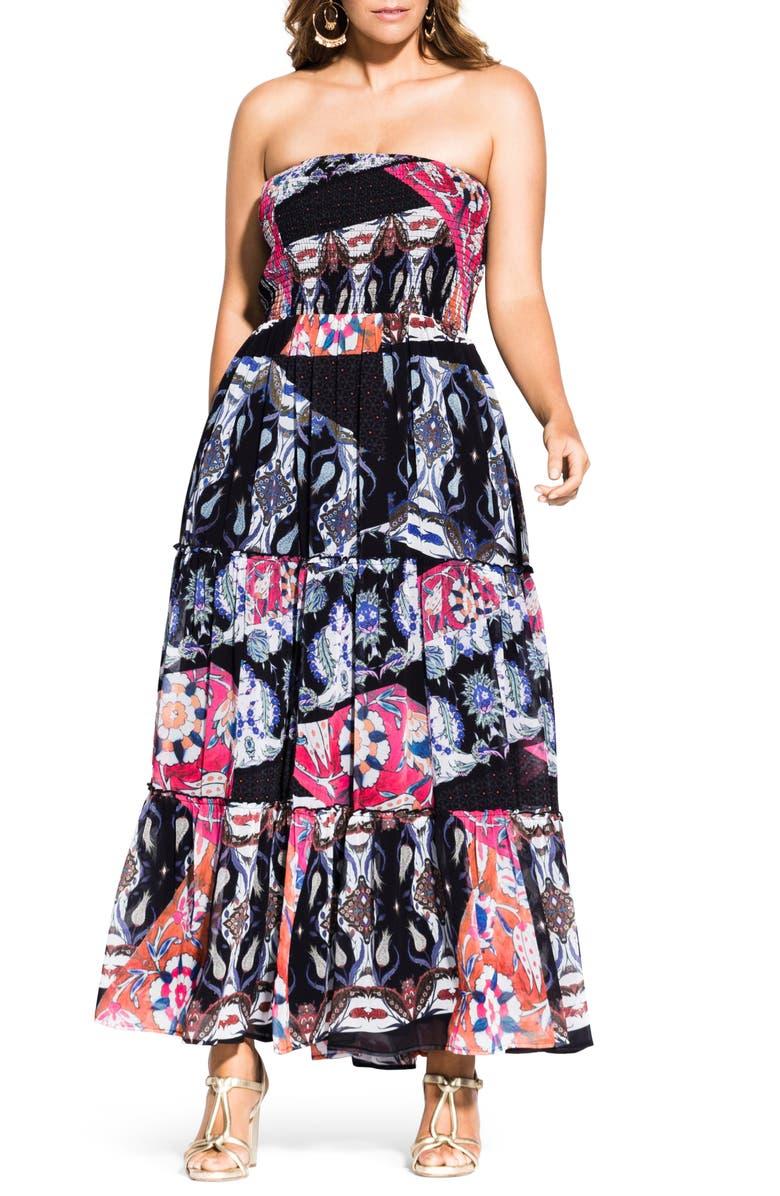 City Chic Dresses MOODY BILBAO STRAPLESS MAXI DRESS