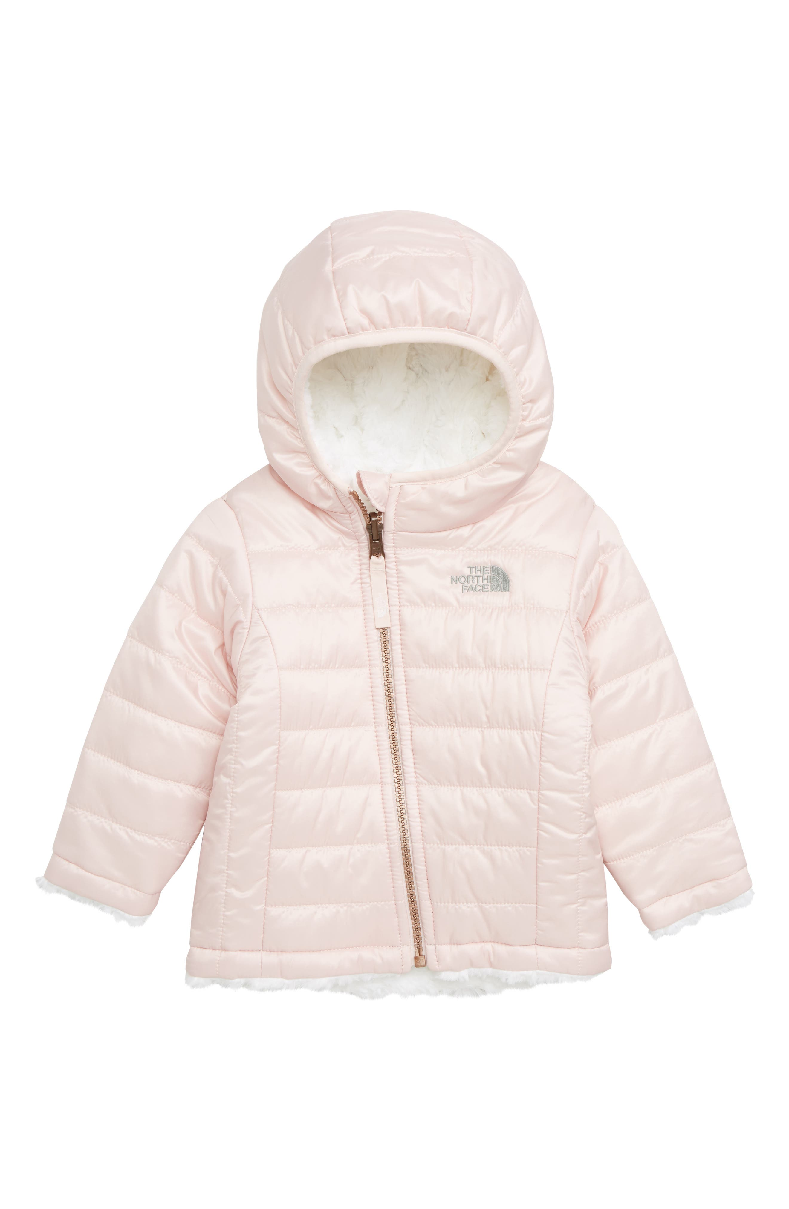 THE NORTH FACE, Mossbud Swirl Reversible Water Repellent Jacket, Main thumbnail 1, color, PURDY PINK