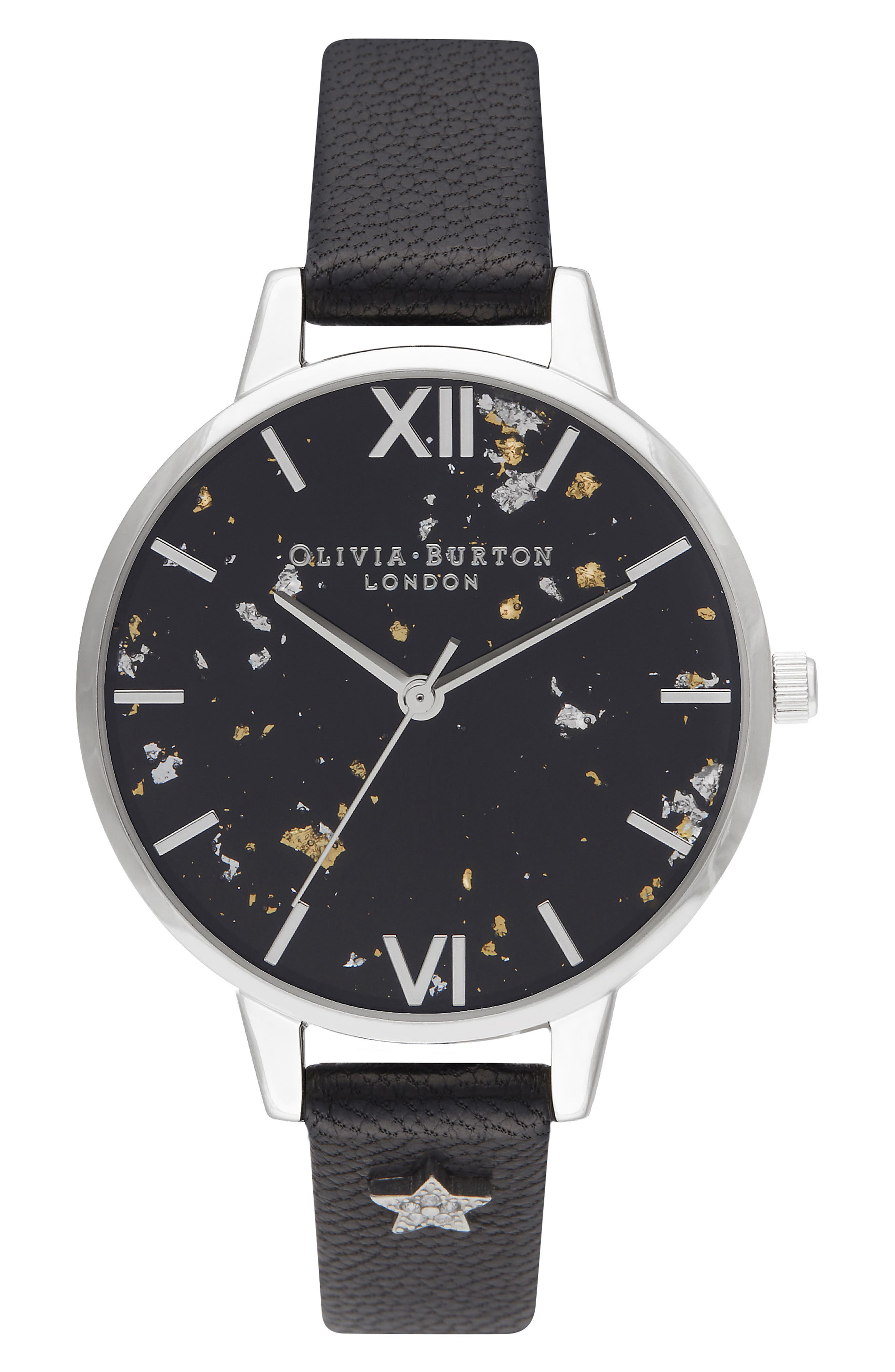 OLIVIA BURTON, Celestial Leather Strap Watch, 34mm, Main thumbnail 1, color, BLACK/ GOLD/ SILVER