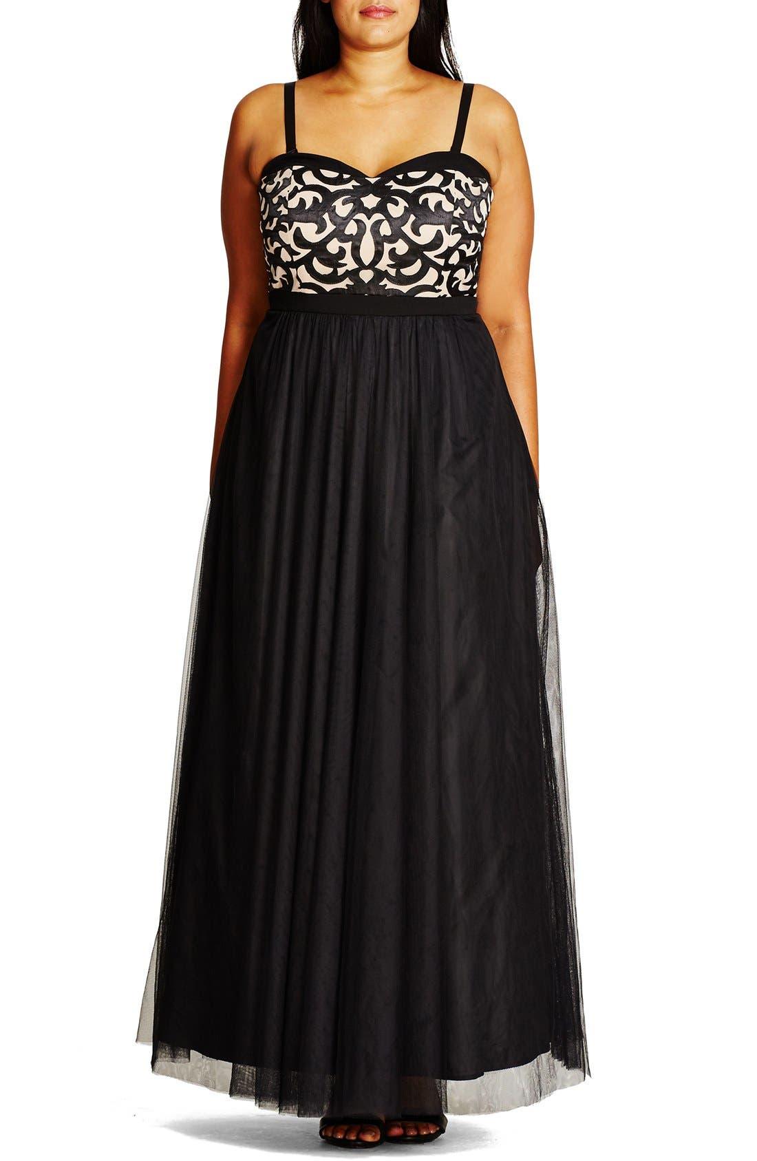 CITY CHIC 'It Girl' Maxi Dress, Main, color, BLACK