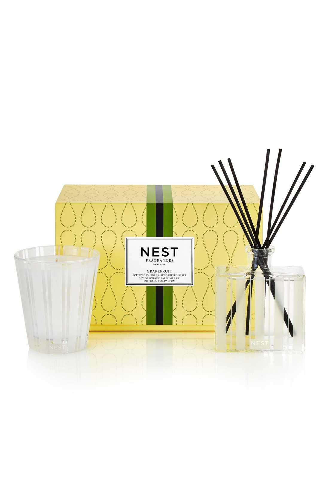 NEST FRAGRANCES 'Grapefruit' Reed Diffuser & Candle Set, Main, color, 000