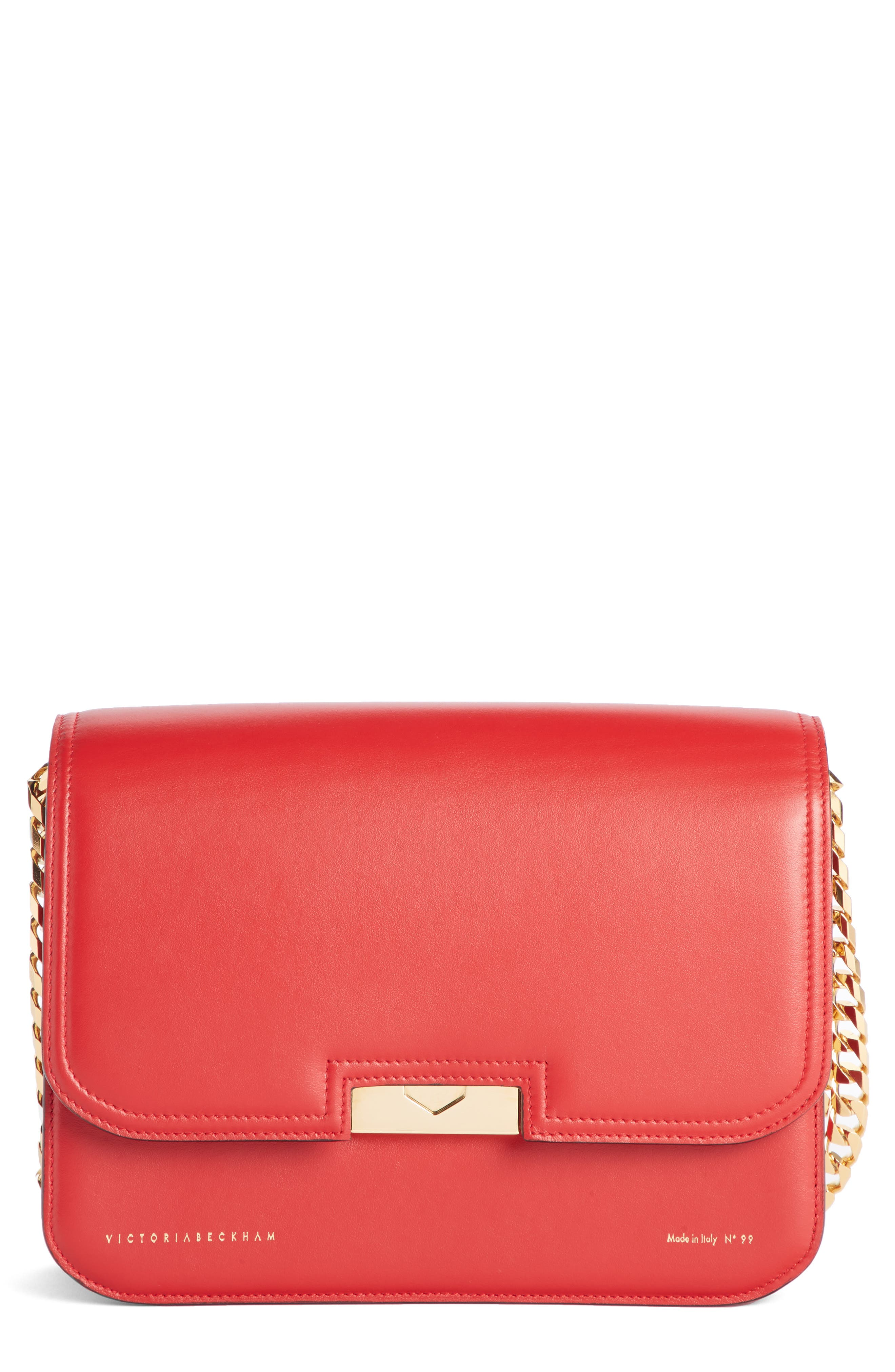 VICTORIA BECKHAM, Eva Leather Shoulder Bag, Main thumbnail 1, color, RED