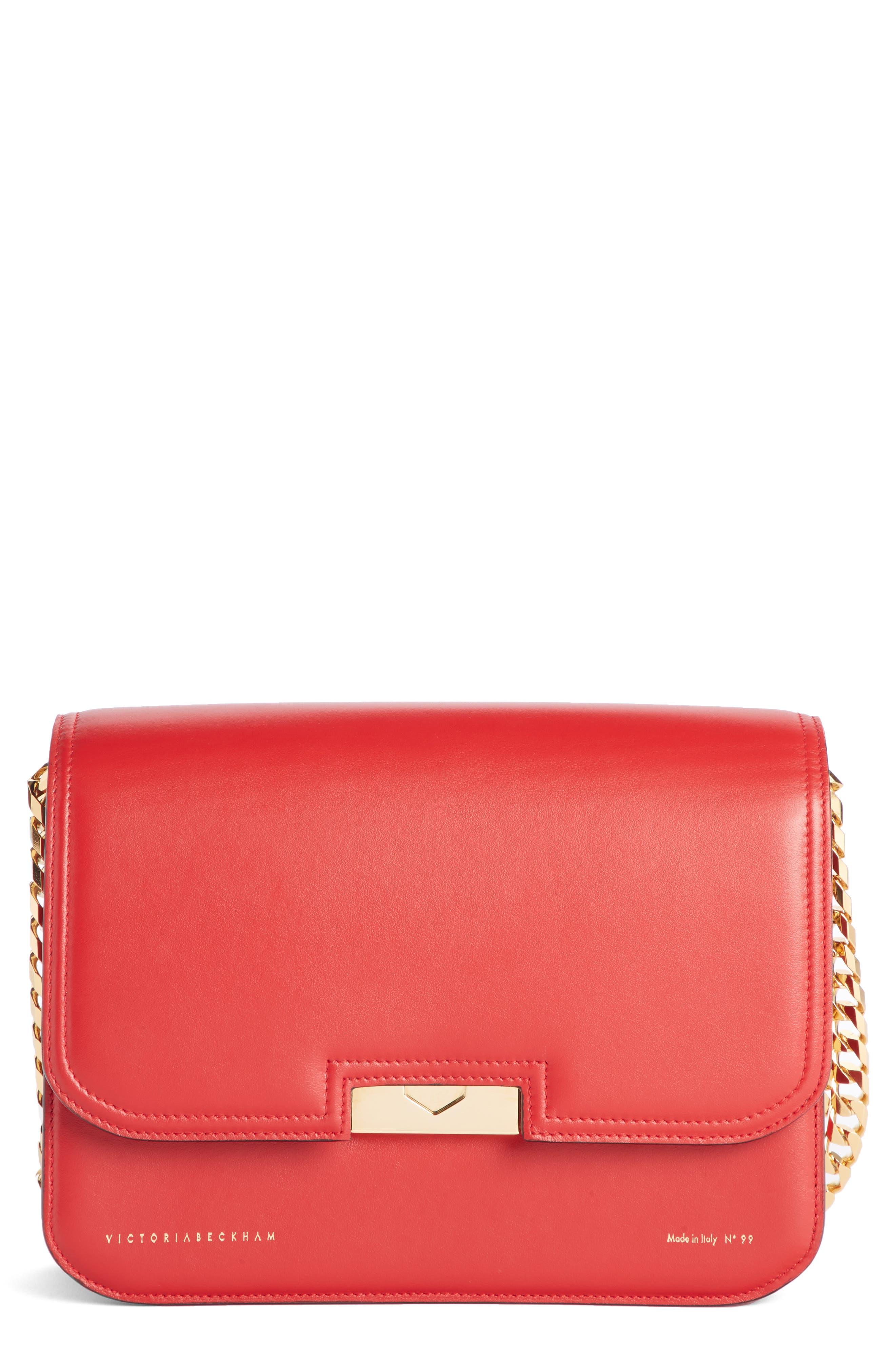 VICTORIA BECKHAM Eva Leather Shoulder Bag, Main, color, RED