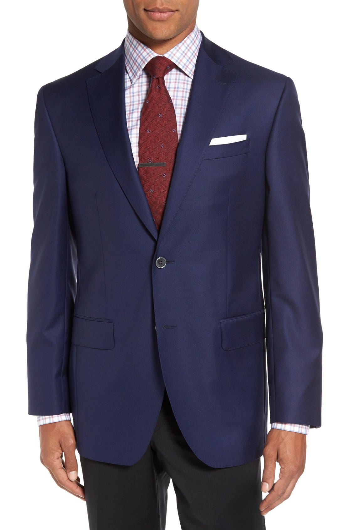 DAVID DONAHUE, 'Connor' Classic Fit Solid Wool Sport Coat, Main thumbnail 1, color, NAVY