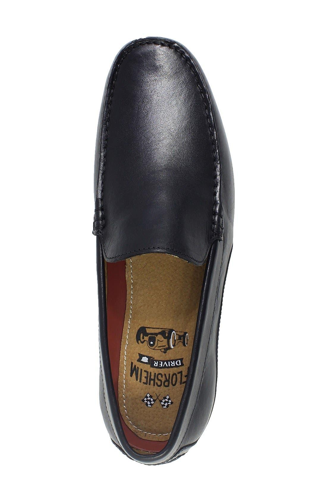 FLORSHEIM, Oval Driving Shoe, Alternate thumbnail 6, color, BLACK LEATHER